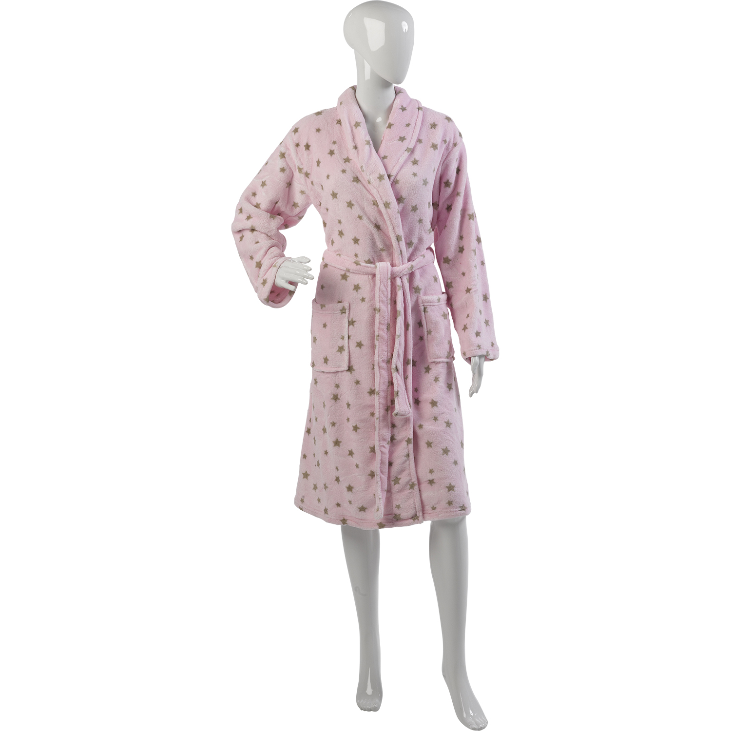 Womens Star Design Luxury Dressing Gown Ladies Soft Coral Fleece ...
