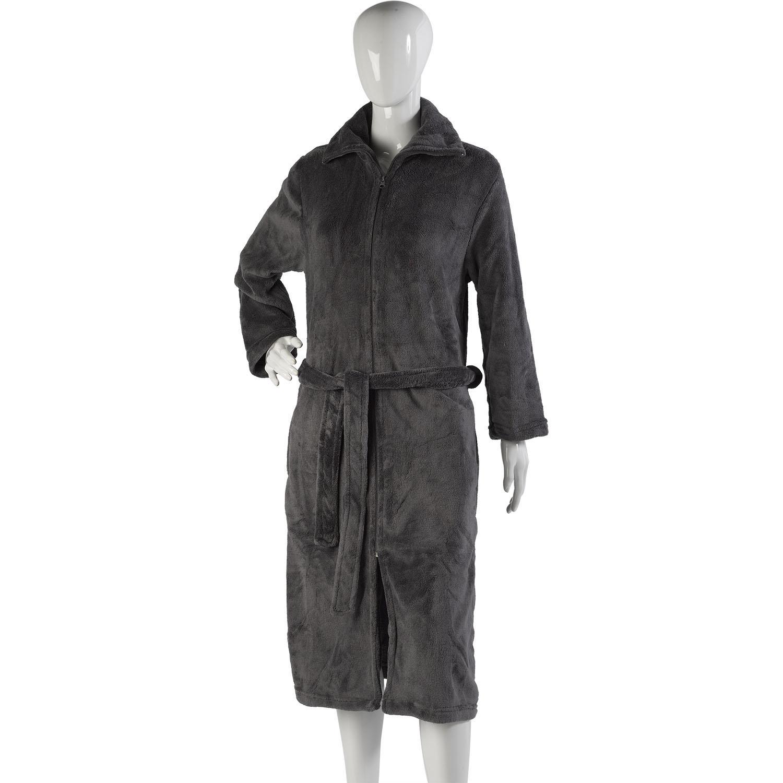 Slenderella Soft Fleece Zip up Shawl Collar Dressing Gown Wrap ...