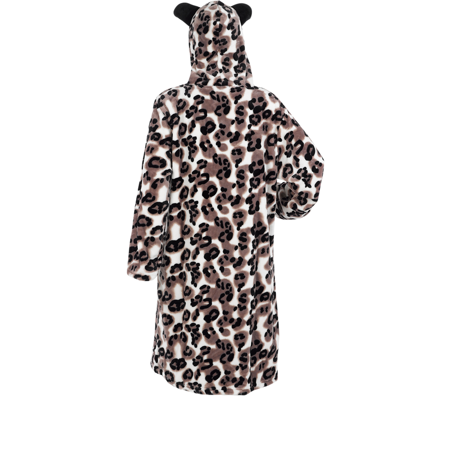 Ladies Dressing Gown Soft Fleece long sleeve Hooded slouch Pullover Slenderella