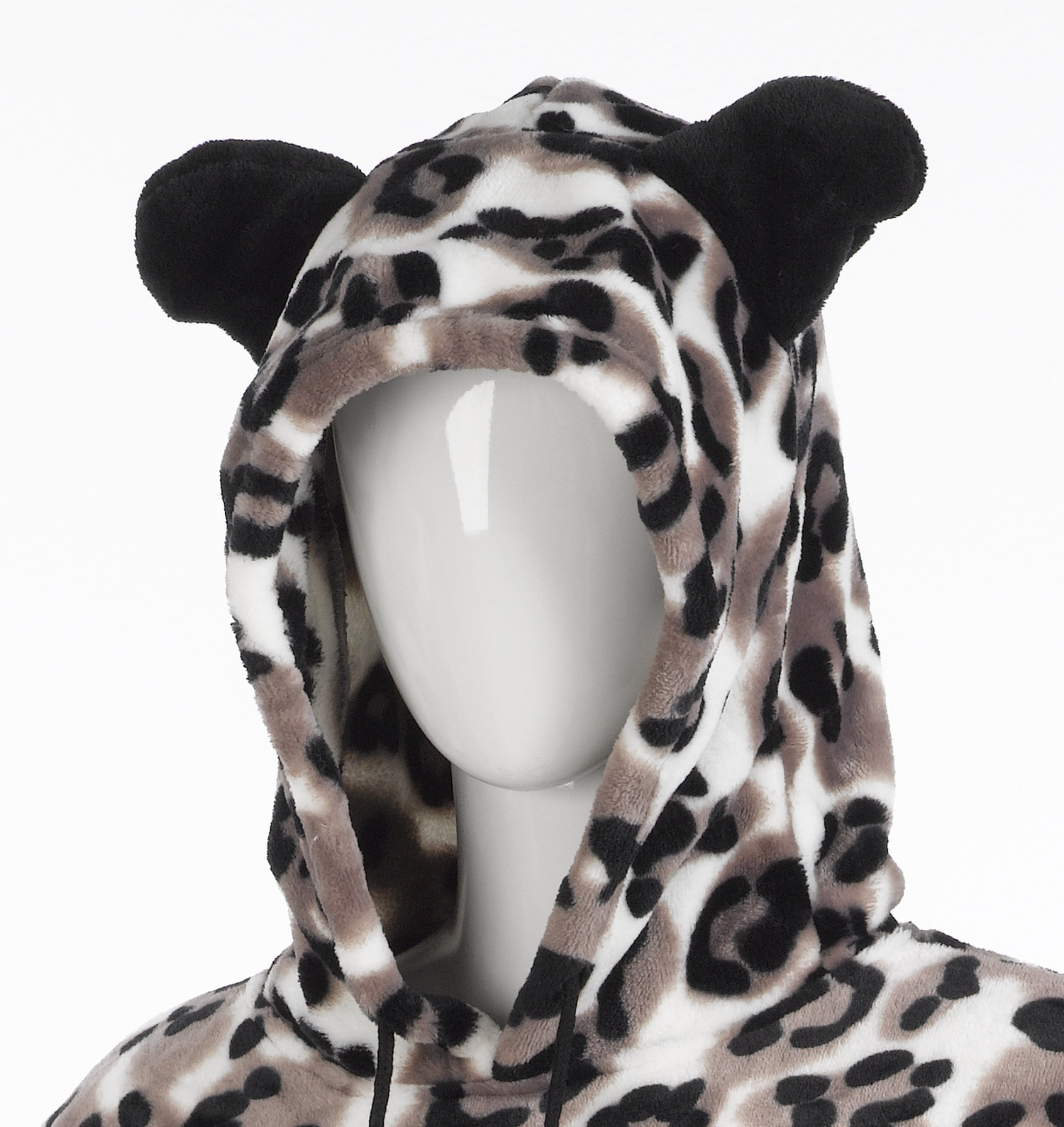 Womens Slenderella Animal Print Pullover Hooded Soft Polar