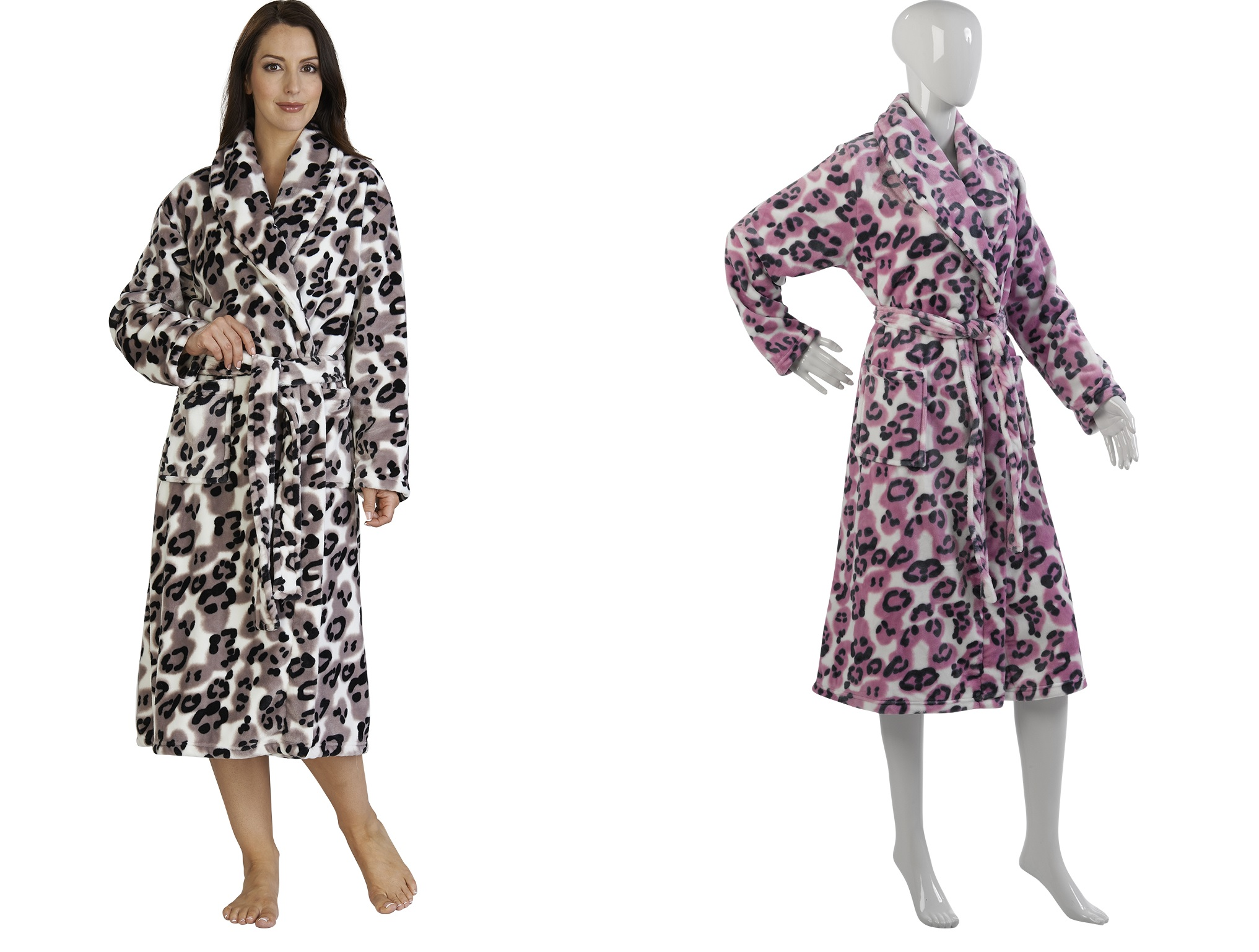 Womens Leopard Print Bath Robe Soft Luxury Mink Fleece Dressing Gown ...