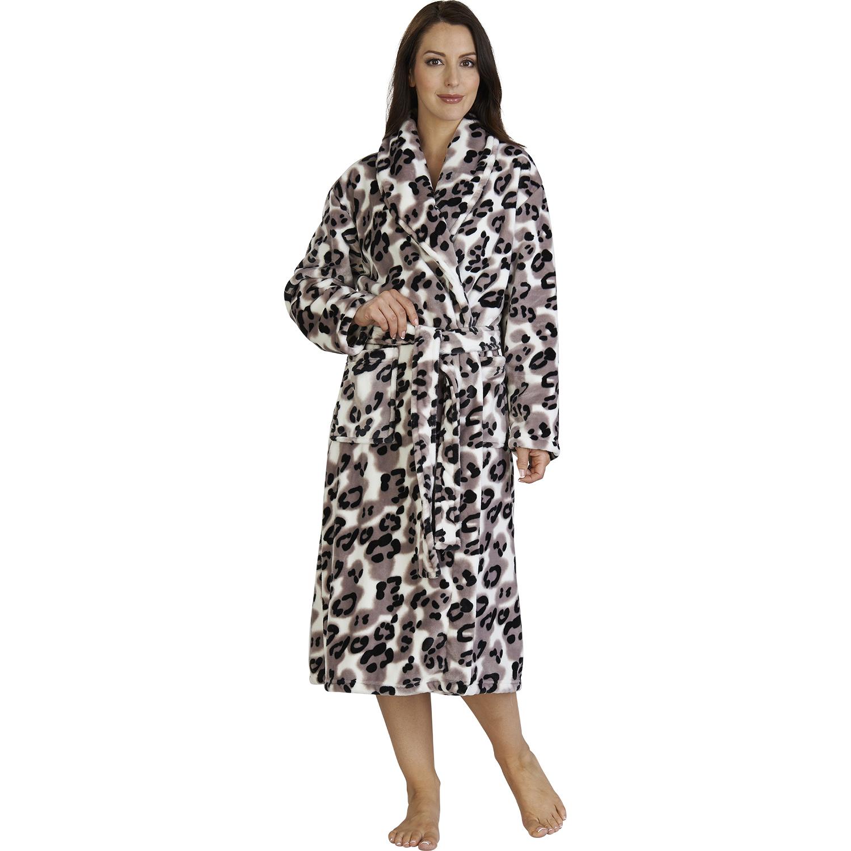 Womens Leopard Print Bath Robe Soft Luxury Mink Fleece Dressing Gown ...