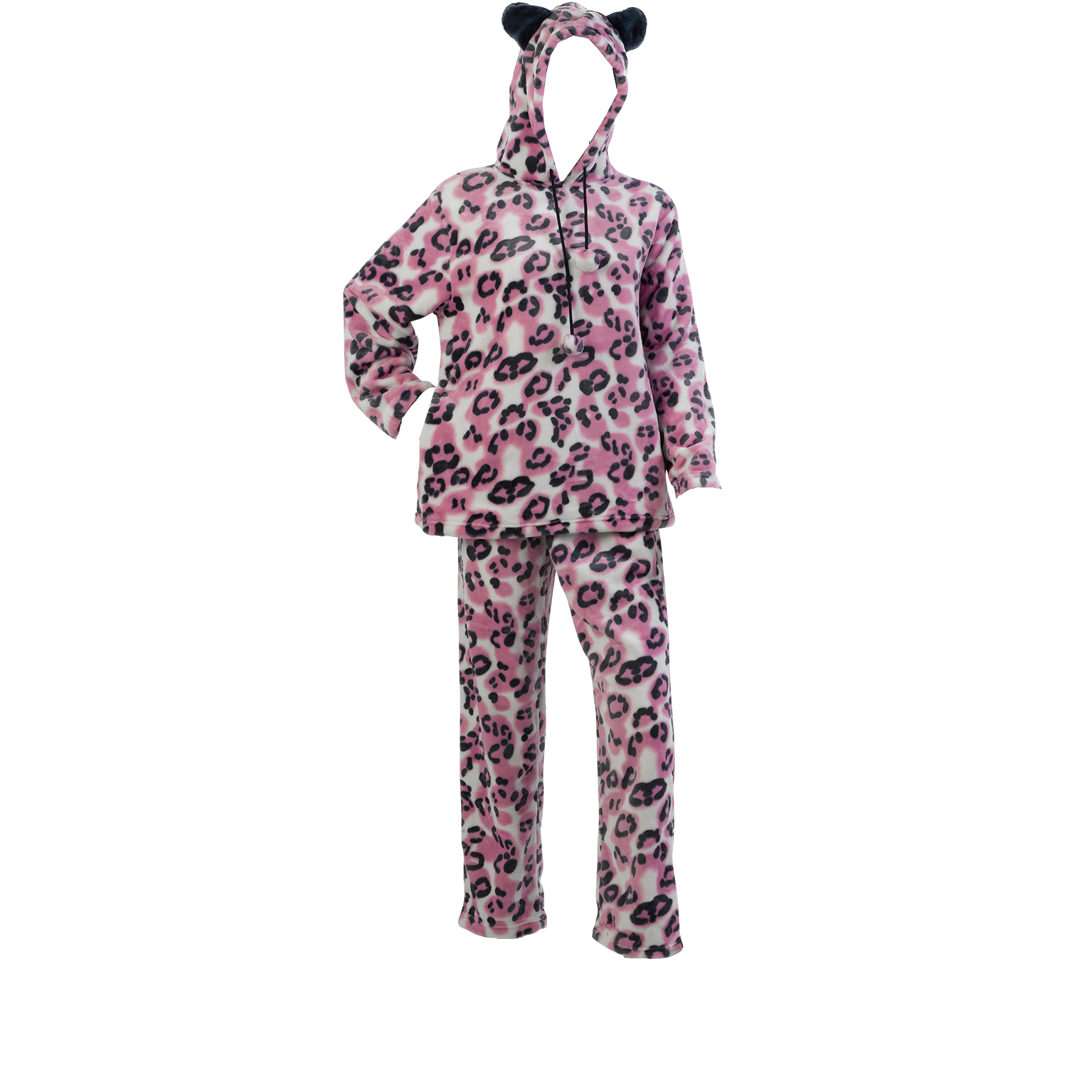 These luxurious ladies soft mink fleece animal print pyjamas are super cosy  and come complete with a hood and ears. These PJs would be perfect for  lounging ... 49ef9b998