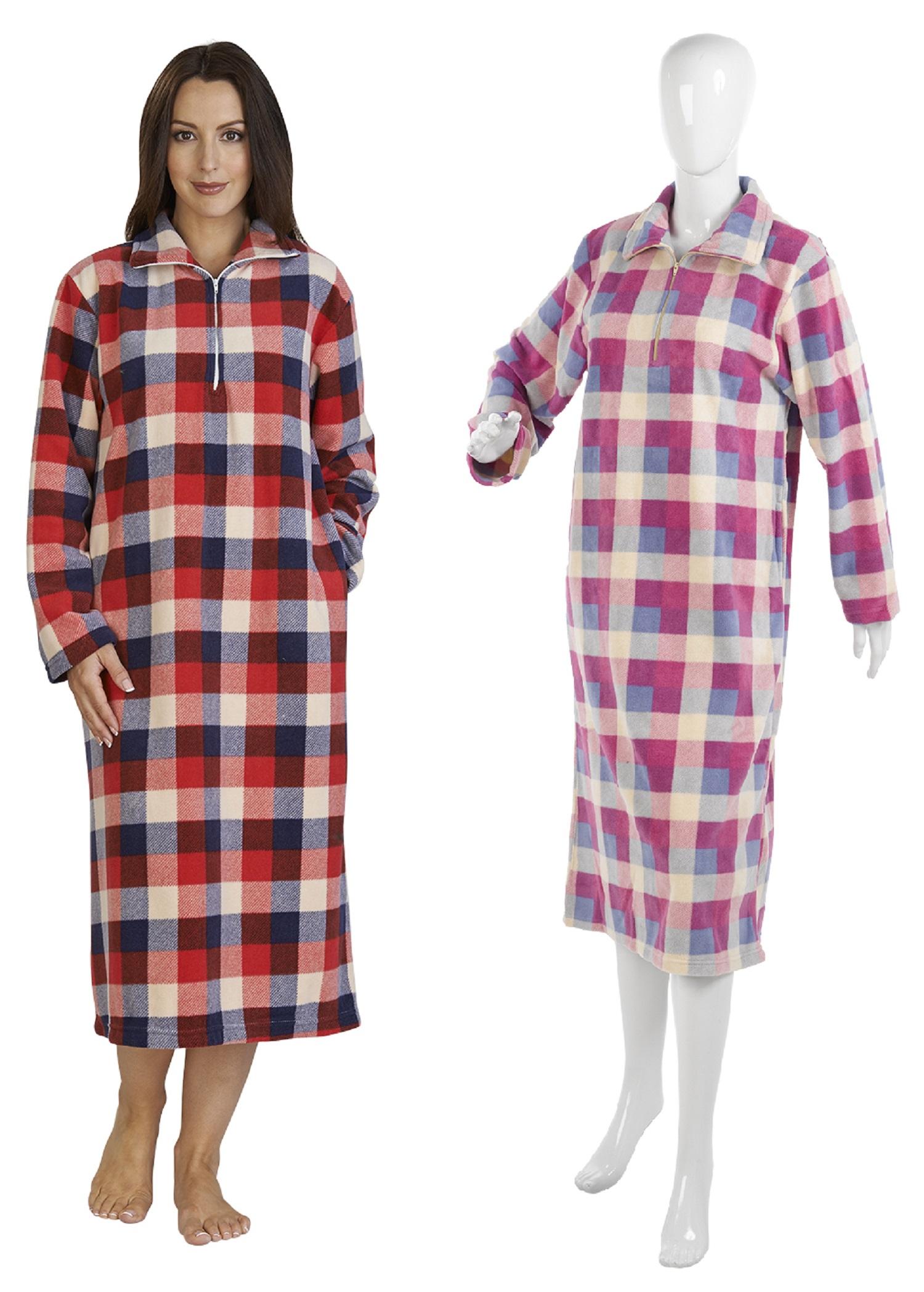 8c26b4990e Womens Slenderella Checked Micro Fleece Nightdress Long Sleeved Check  Nightie