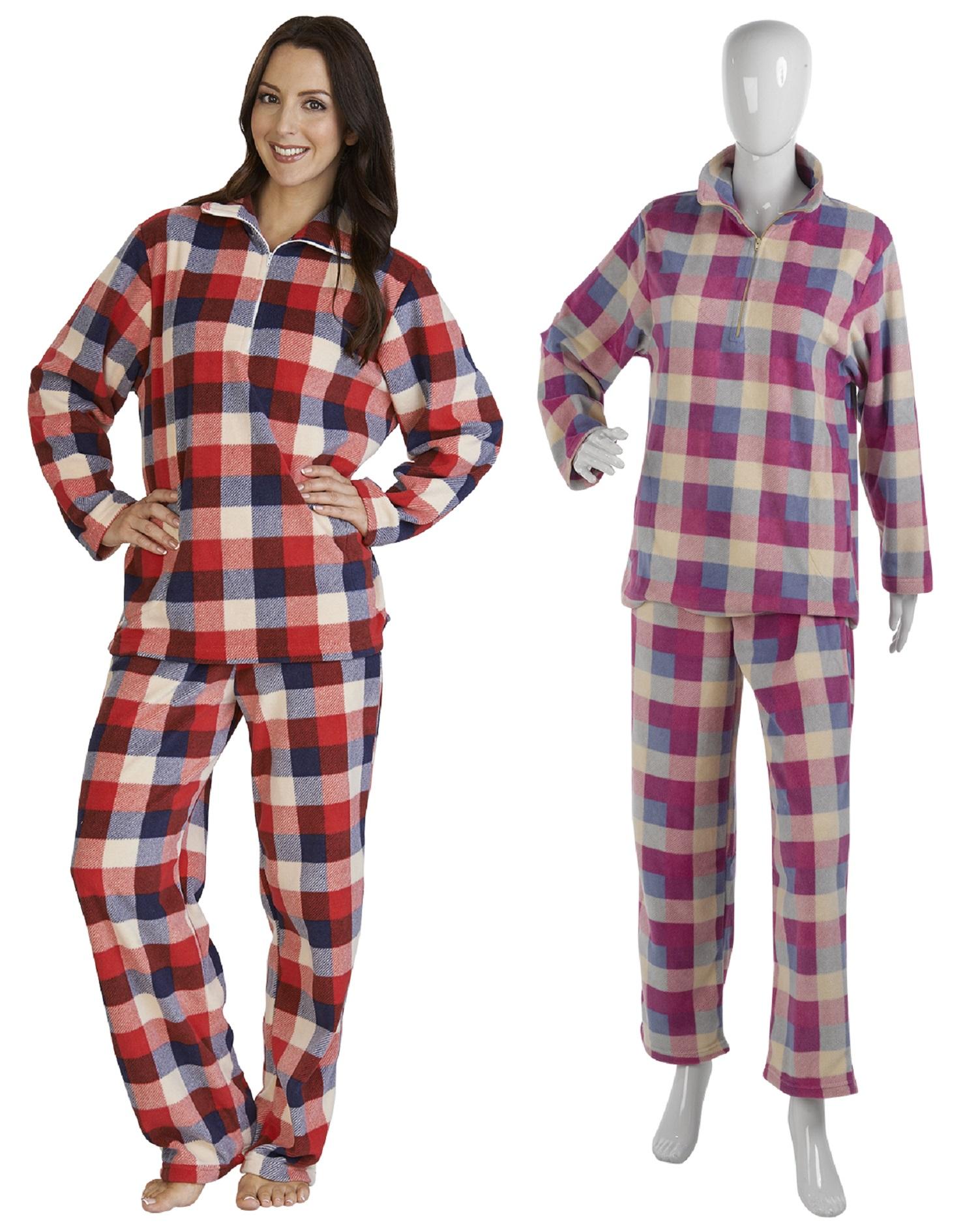 633b8d85a968 Womens Slenderella Checked Micro Fleece Pyjamas Ladies Warm Check Loungewear  PJs