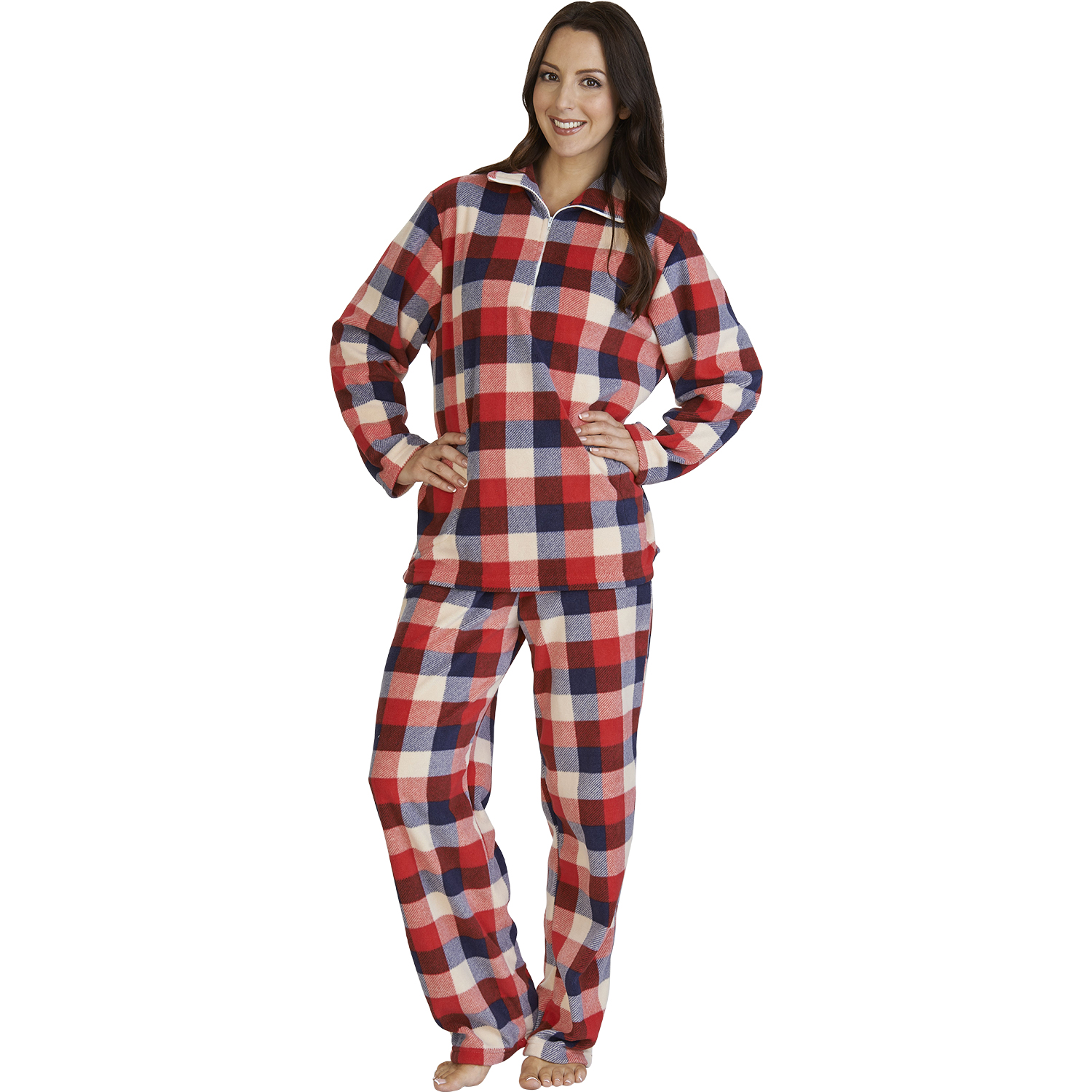 Womens Slenderella Checked Micro Fleece Pyjamas Ladies Warm Check  Loungewear PJs 75aa0d58b