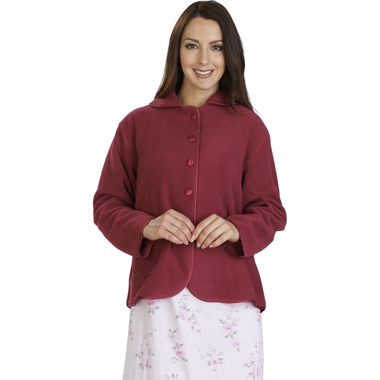 020167baea1 Womens Anti-Pill Fleece Bed Jacket Slenderella Button Up Satin Trim House  Coat