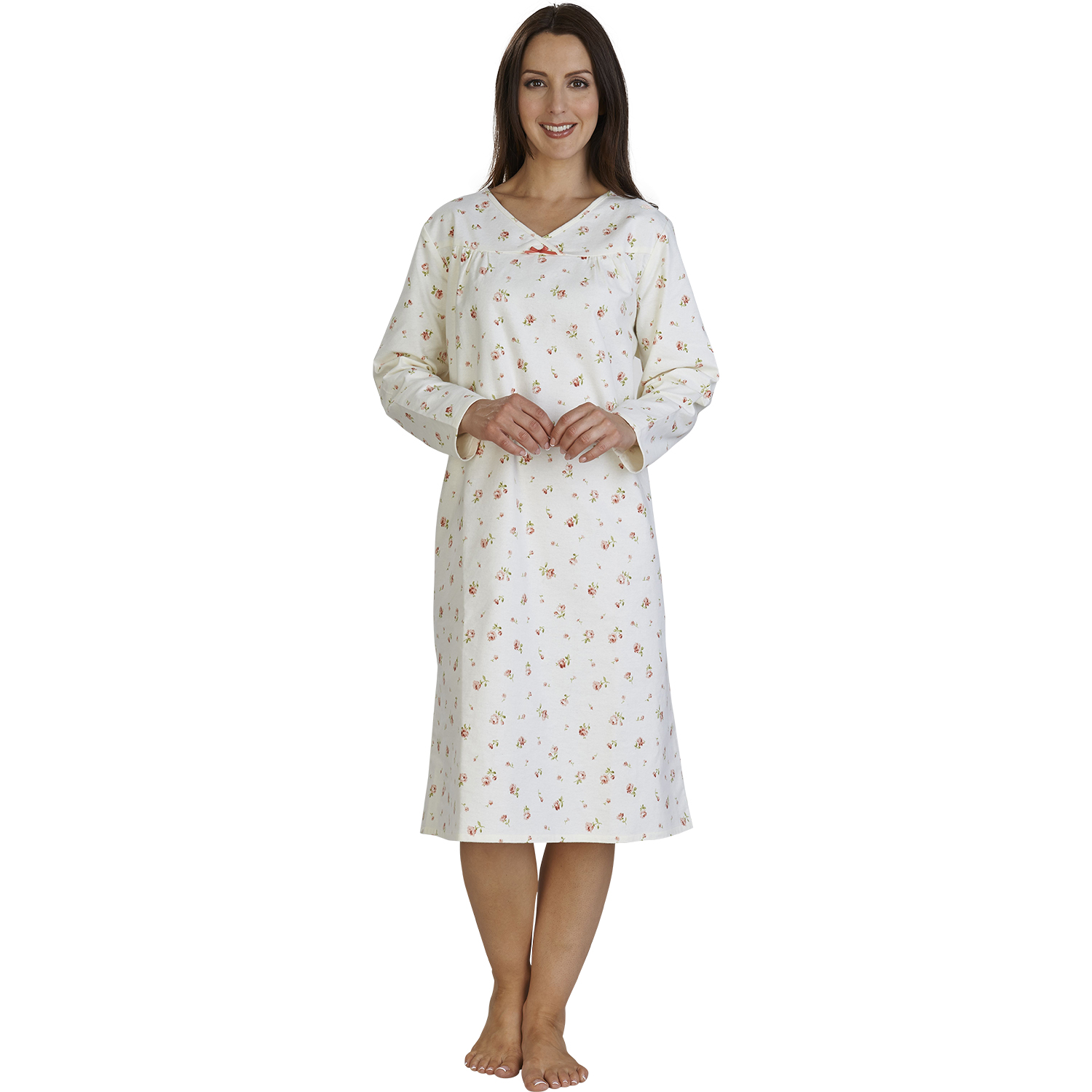 Slenderella Womens Floral Brushed Cotton Nightdress Ladies
