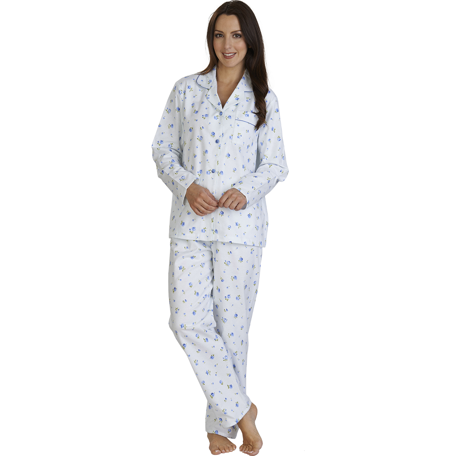 b42c9c85ed Womens Slenderella Flower Design PJs 100% Brushed Cotton Long Sleeved  Pyjamas
