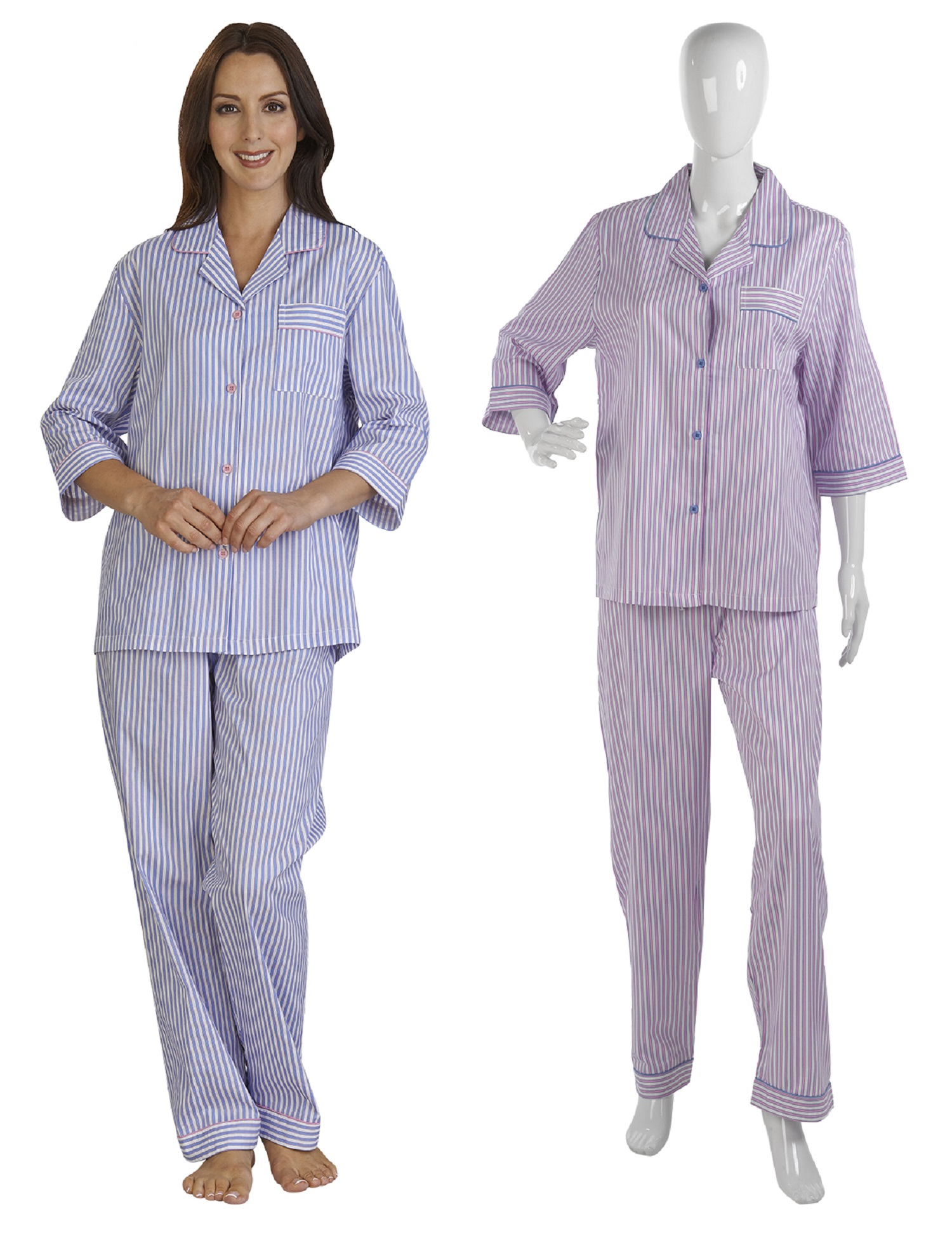 ec417b71522e Womens Slenderella Striped PJs Ladies 100% Cotton Jacquard Button Up Pyjamas  Set