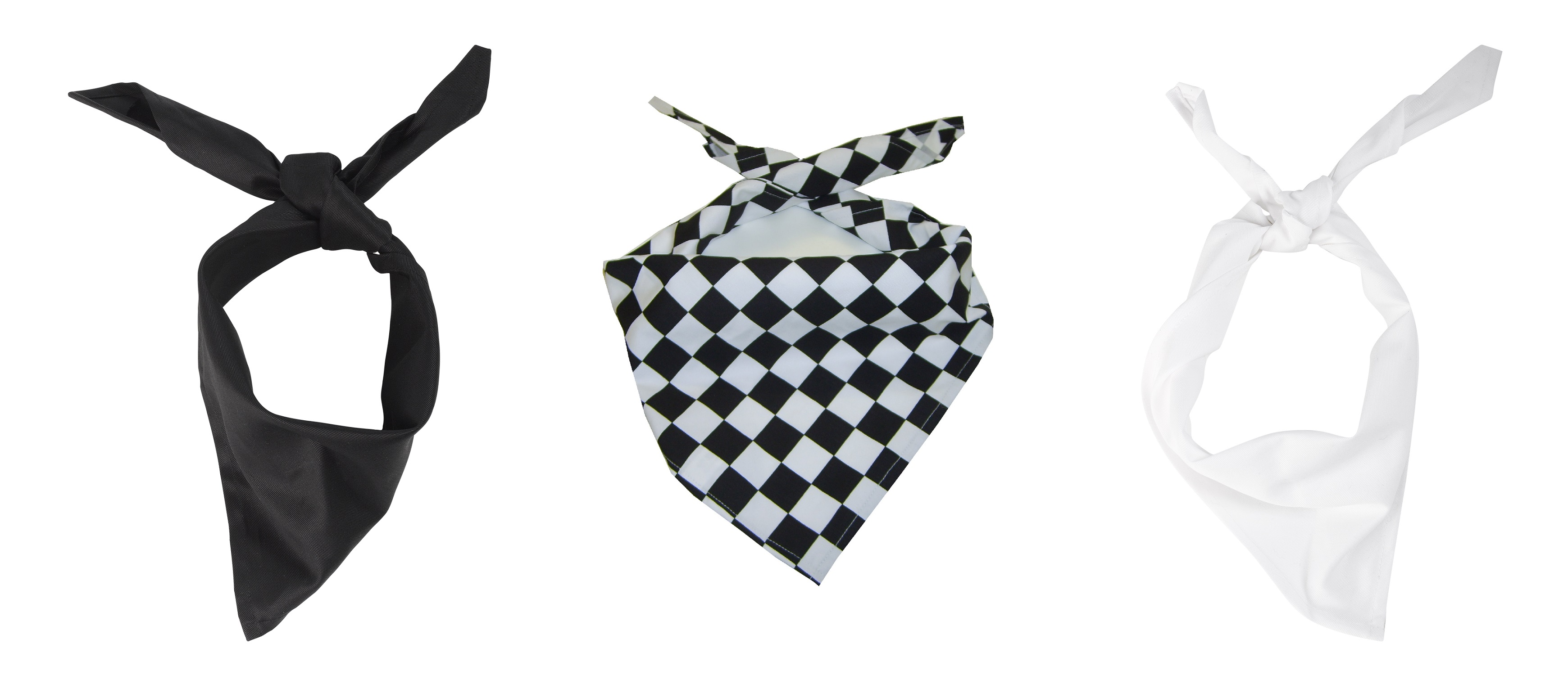 Cooks Neckerchief Polycotton Bandana Lightweight Black White Head Scarf 1  or 5 7d2fe6f9e1a