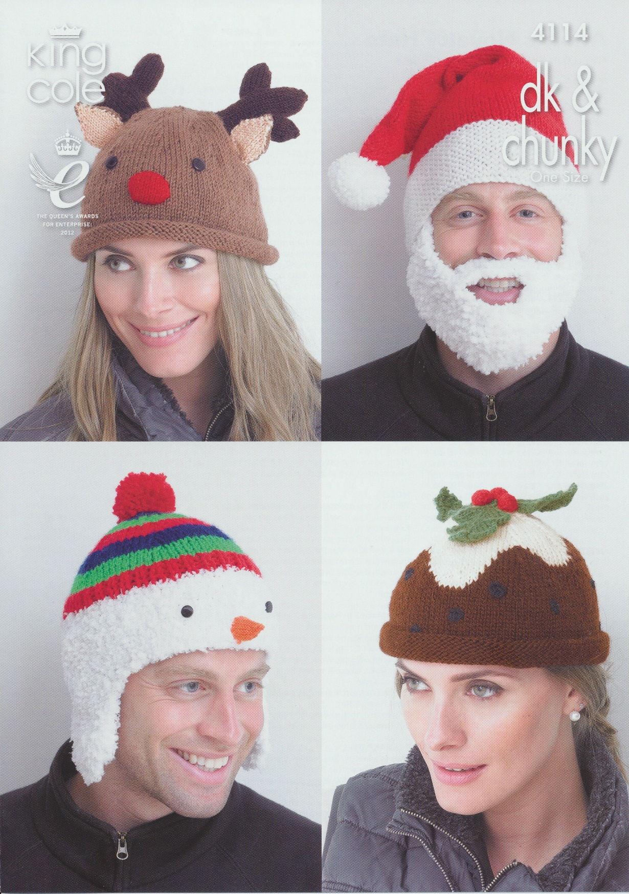 Crochet Christmas Hats Adults.Details About King Cole Adults Christmas Hats Chunky Dk Knitting Pattern 4114