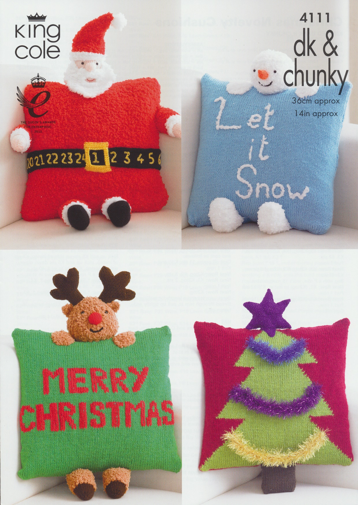 "CHRISTMAS NOVELTY CUSHIONS KING COLE PATTERN 4111 14 /"" approx. DK /& CHUNKY"