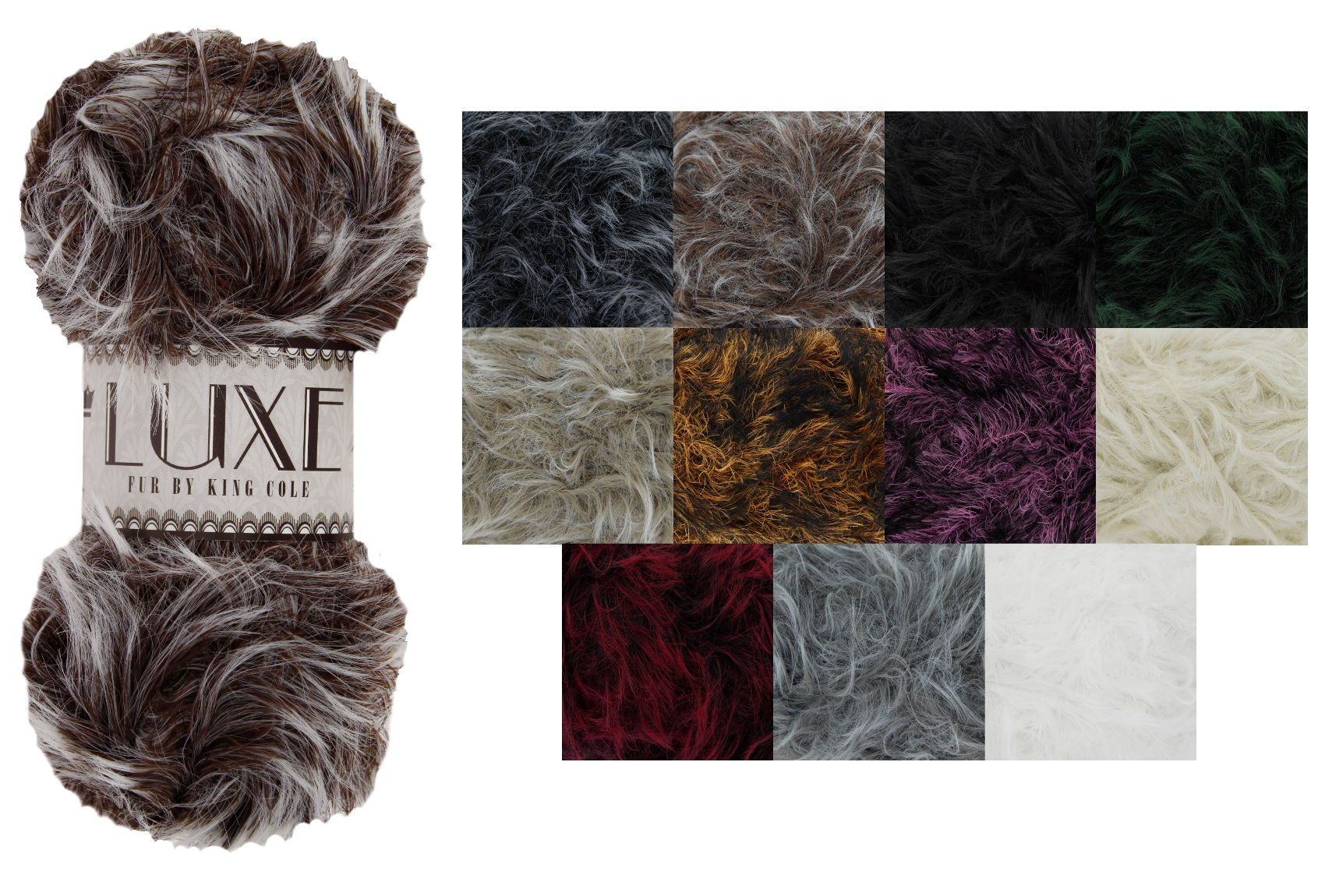 2 x Luxe Faux Fur 100g Soft Wool Yarn Ball *7 Colours*