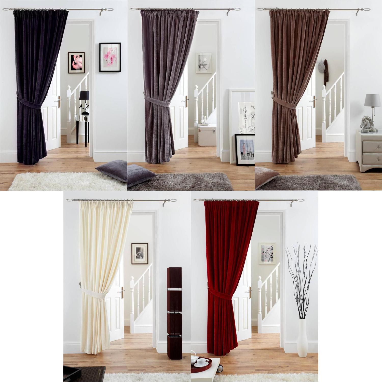 Fully Lined Velvet Door Curtain Pencil Pleat Deep Pile Polyester Panel 66  x 84   sc 1 st  eBay & Fully Lined Velvet Door Curtain Pencil Pleat Deep Pile Polyester ...