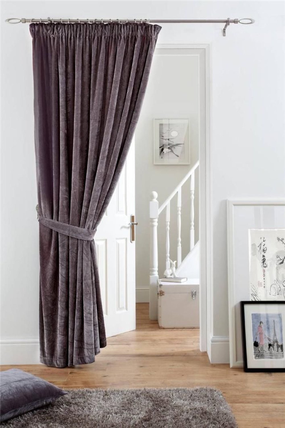 Fully Lined Velvet Door Curtain Pencil Pleat Deep Pile Polyester