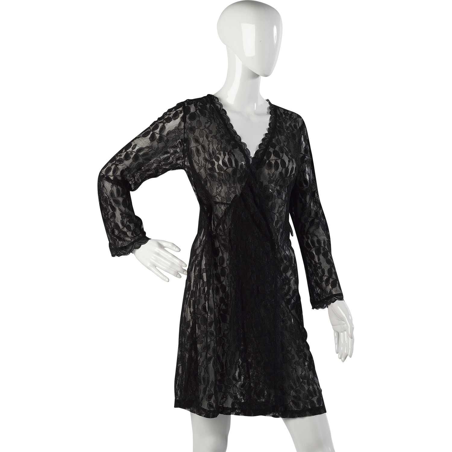 Womens Black Lacy Wrap Slenderella Gaspe Short Lace Dressing Gown ...