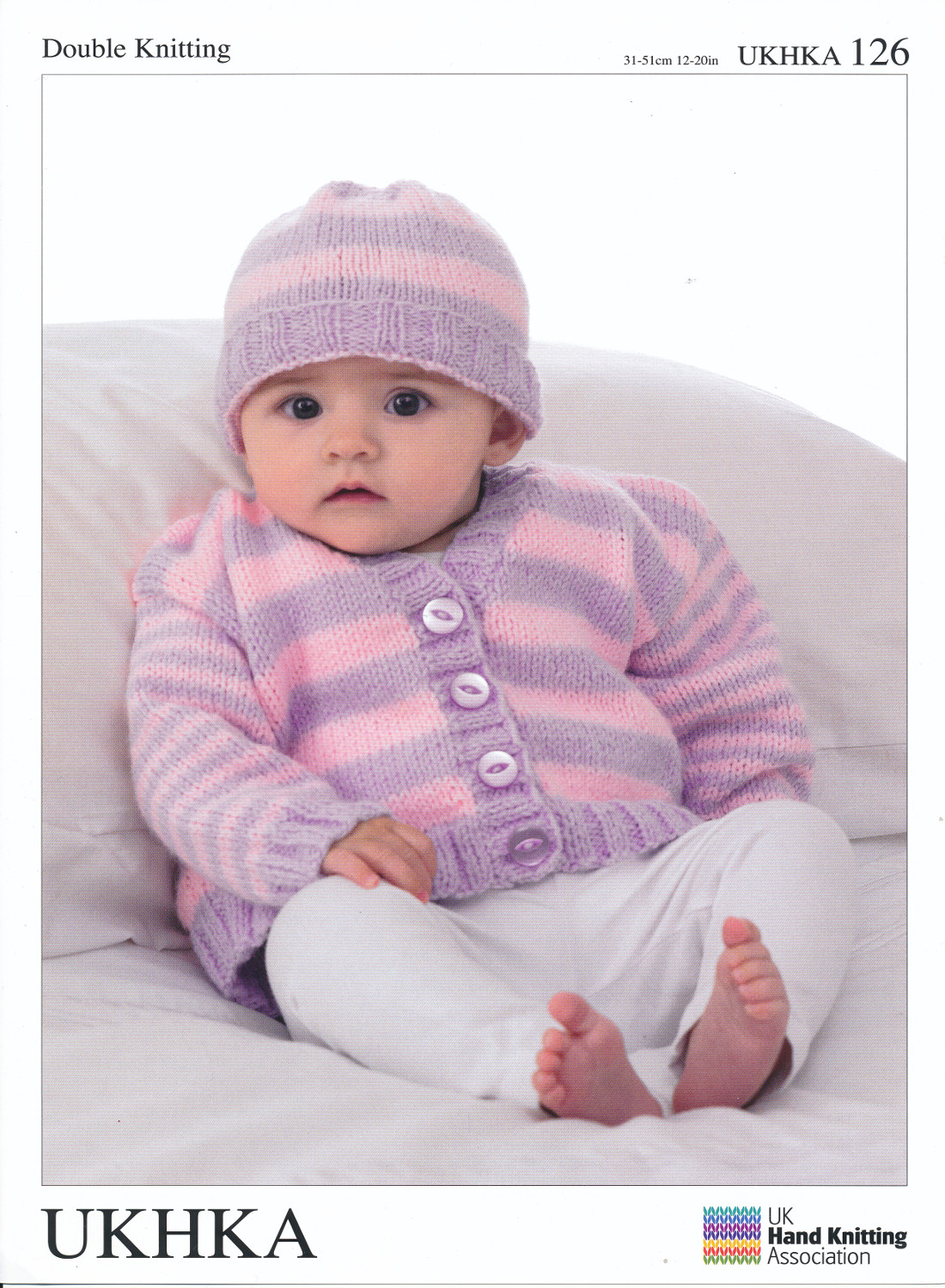 Baby Long Sleeved Striped Cardigan & Hat Double Knitting DK Pattern ...