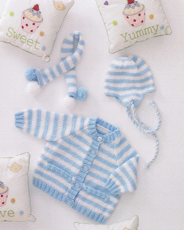 Double Knitting DK Pattern Baby Striped Cardigan & Tassel Helmet Hat ...