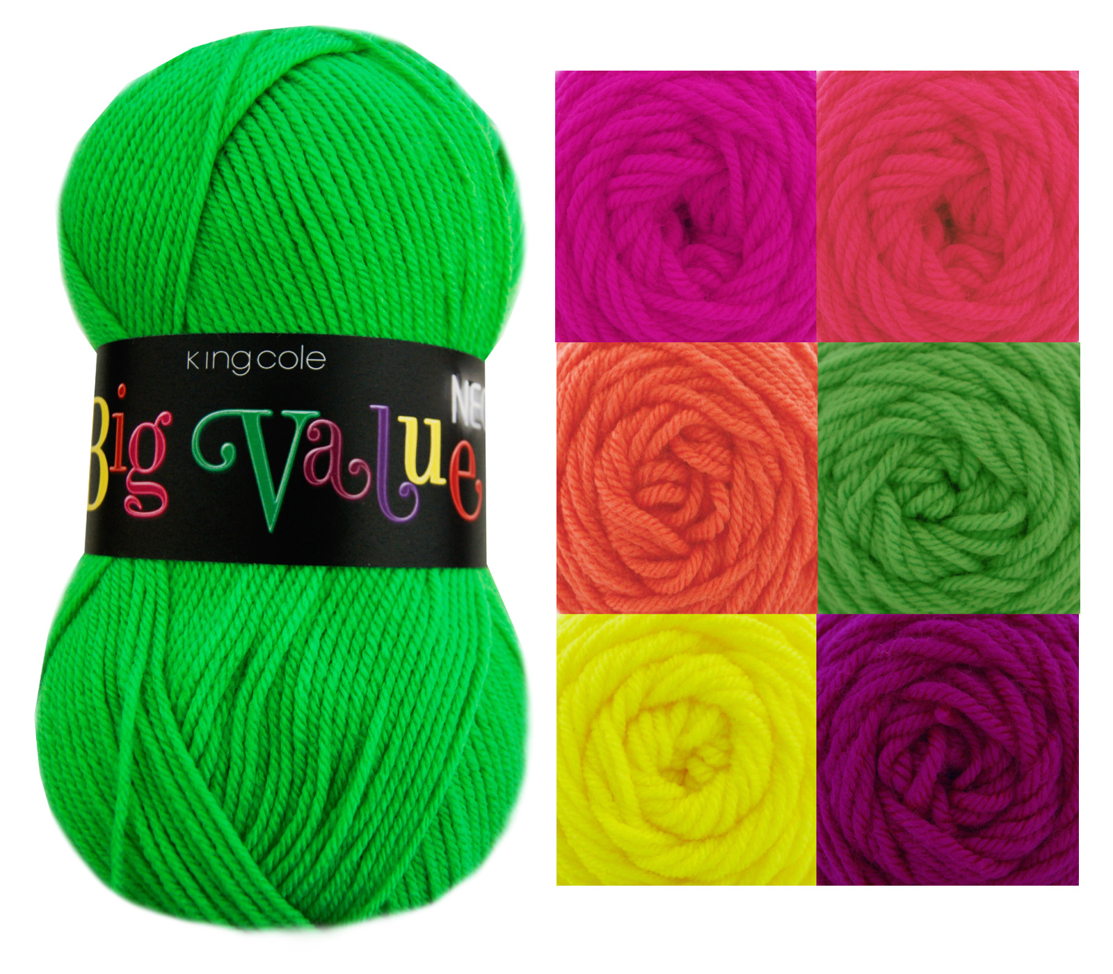 Large Knitting Needles And Wool Uk : King cole big value neon double knitting yarn acrylic