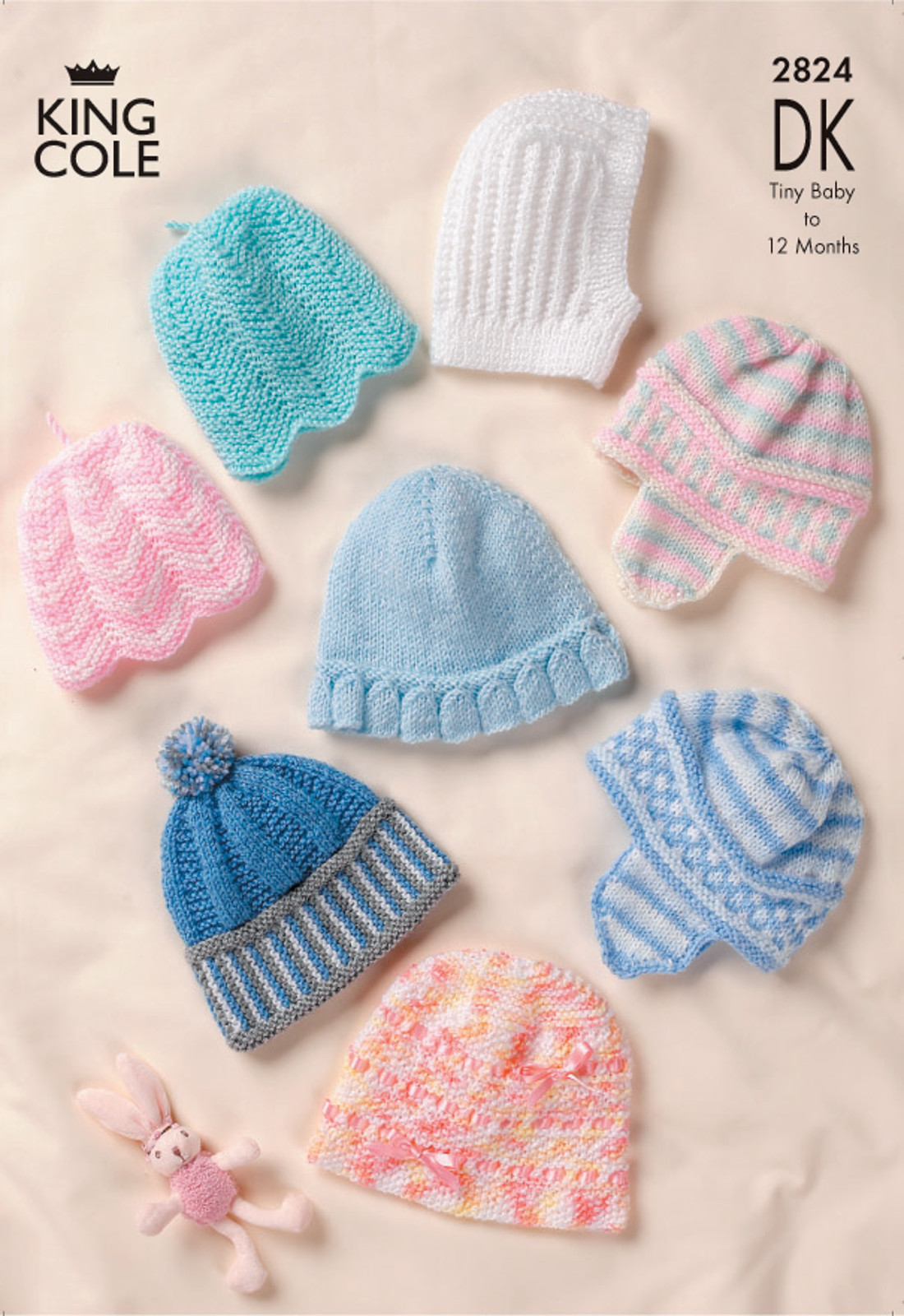 King Cole Double Knitting DK Pattern Baby Hats Bonnet Bobble Hat ...