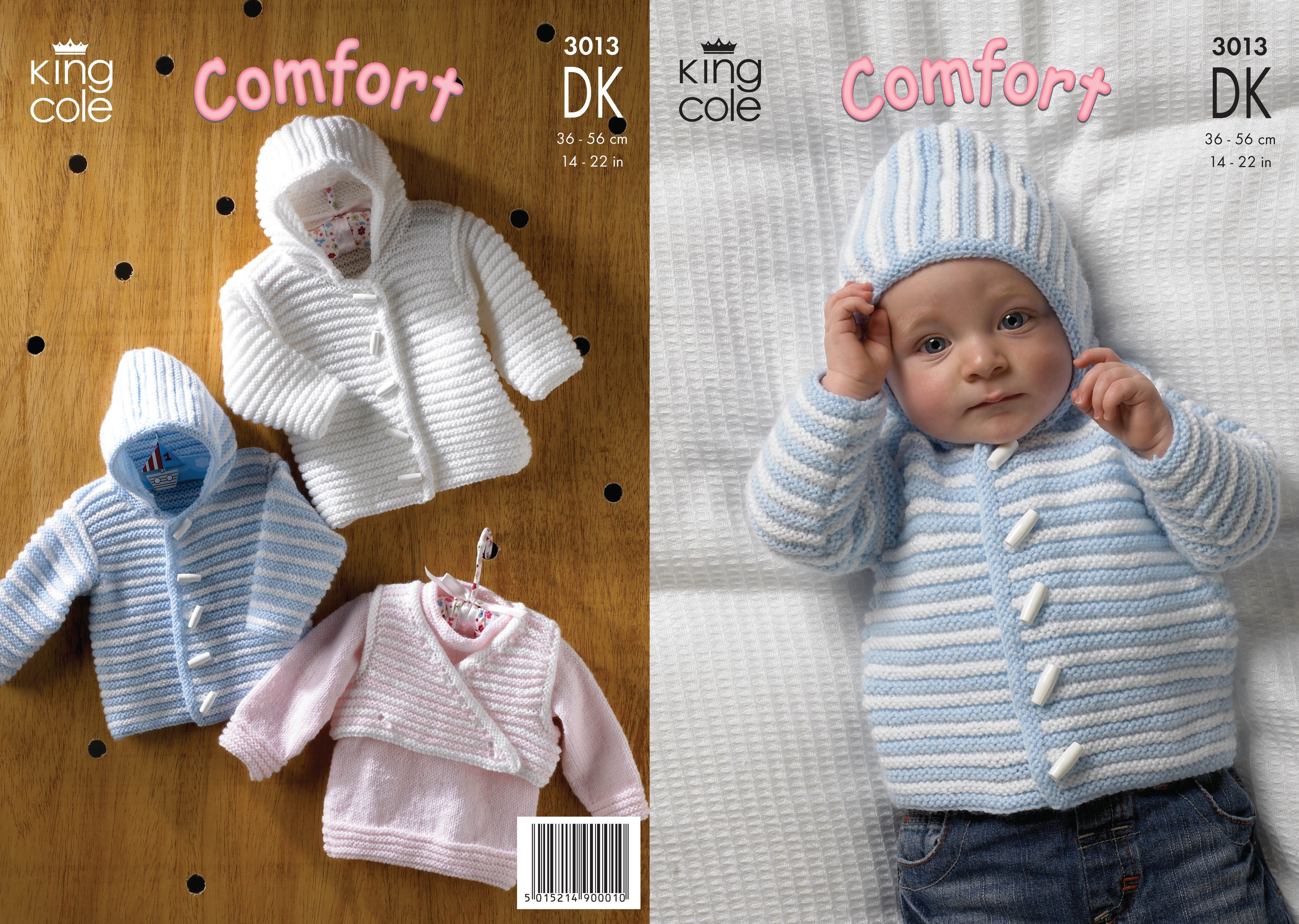 King Cole Double Knitting DK Pattern Baby Sweater Hooded Jacket Body ...