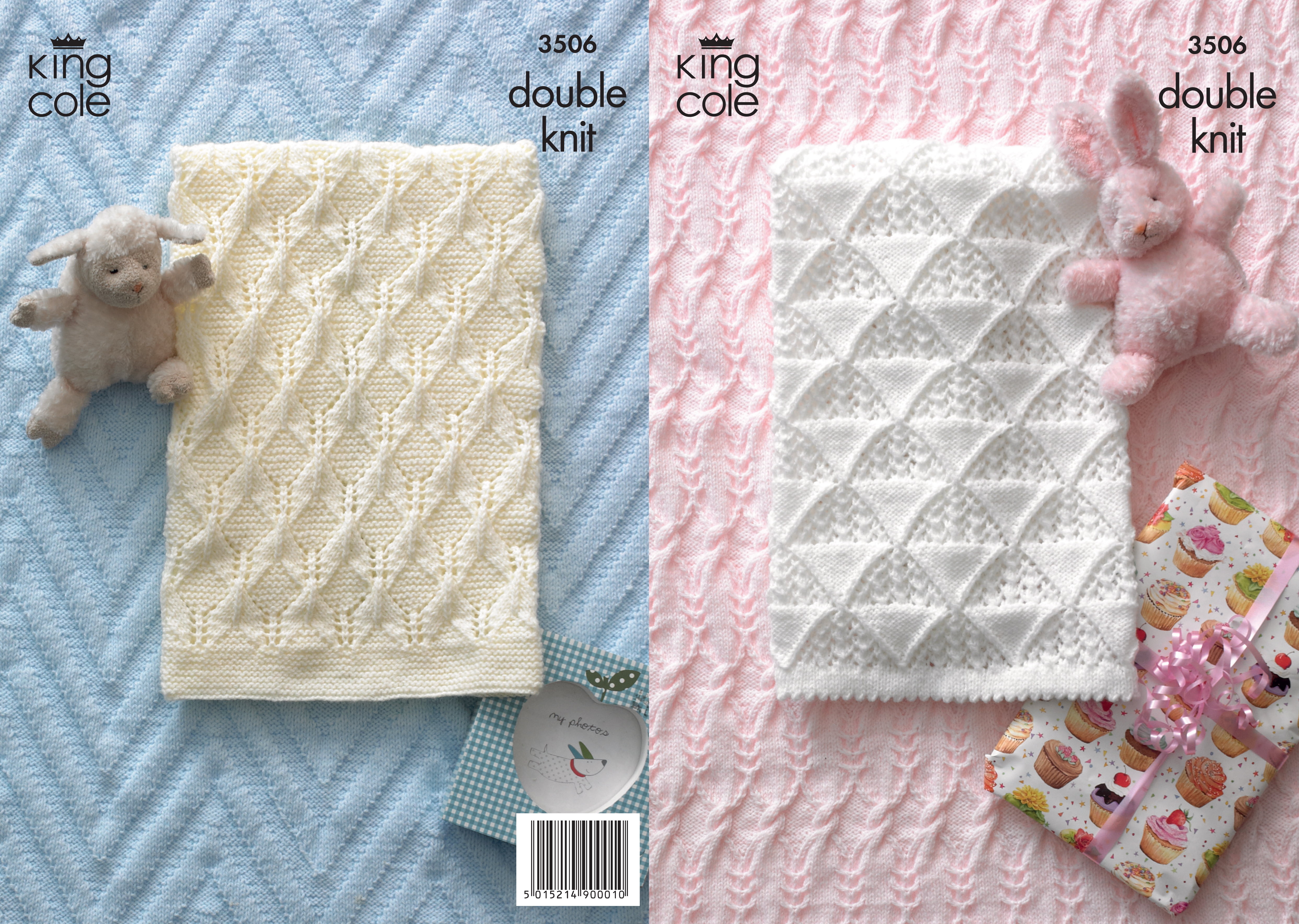 Baby King Cole DK Knitting Pattern Pram Cot Blanket Cable Knit Picot ...