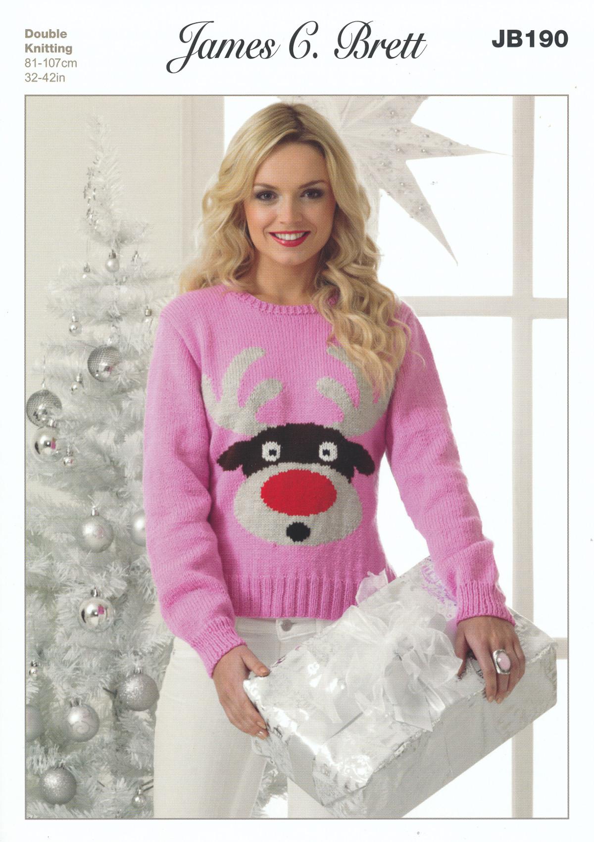 Ladies Top Value DK Knitting Pattern Christmas Reindeer Jumper James Brett JB190