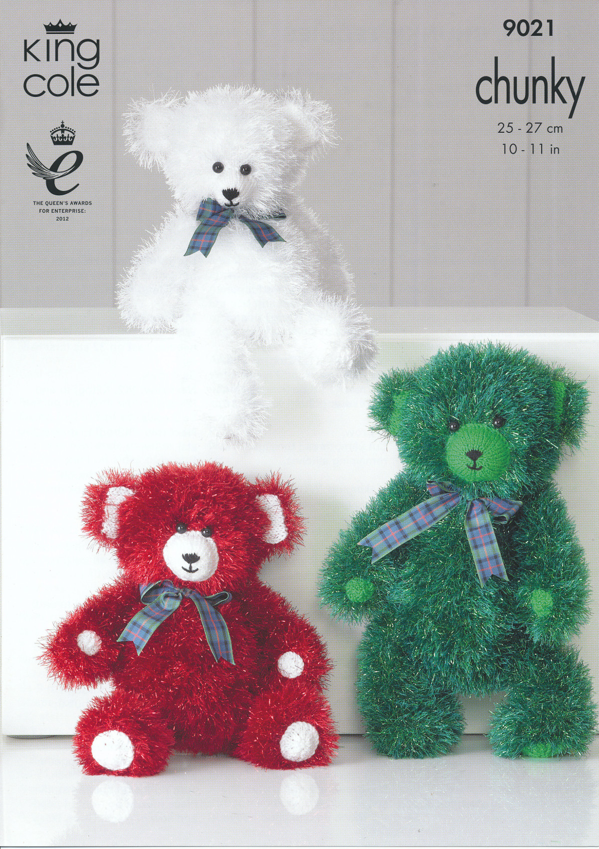Teddy Bear Tinsel Chunky Knitting Pattern King Cole 3 Sizes Fun ...