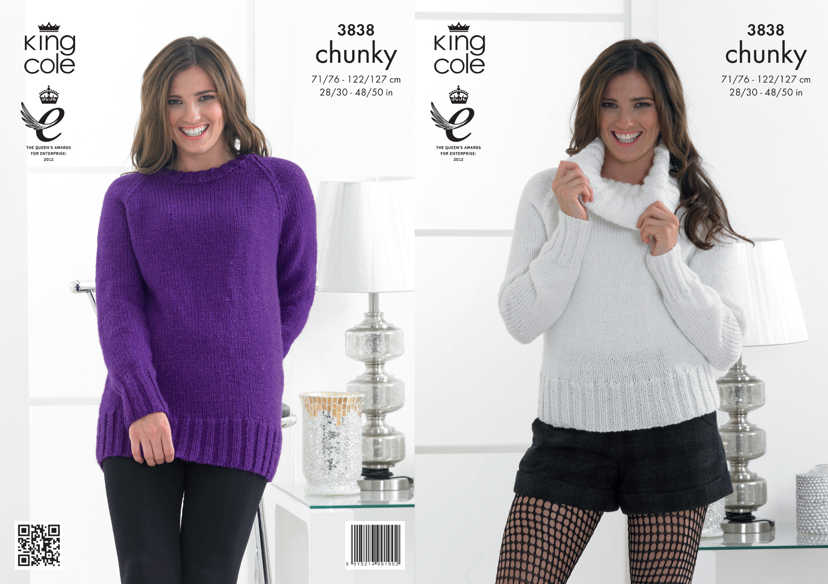 Womens Chunky Knit Knitting Pattern Ladies Ribbed Sweater Jumper ...