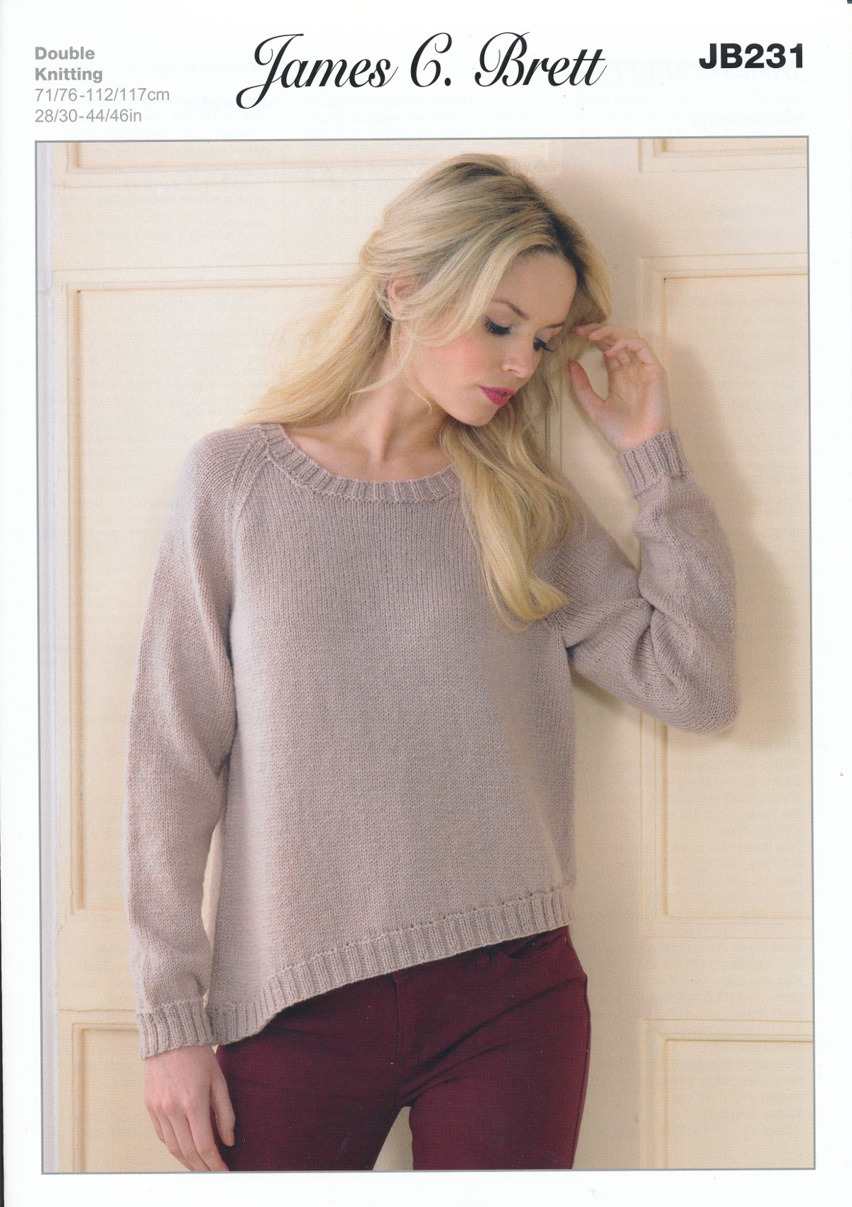 James Brett Double Knitting Pattern Womens Ribbed Sweater ...
