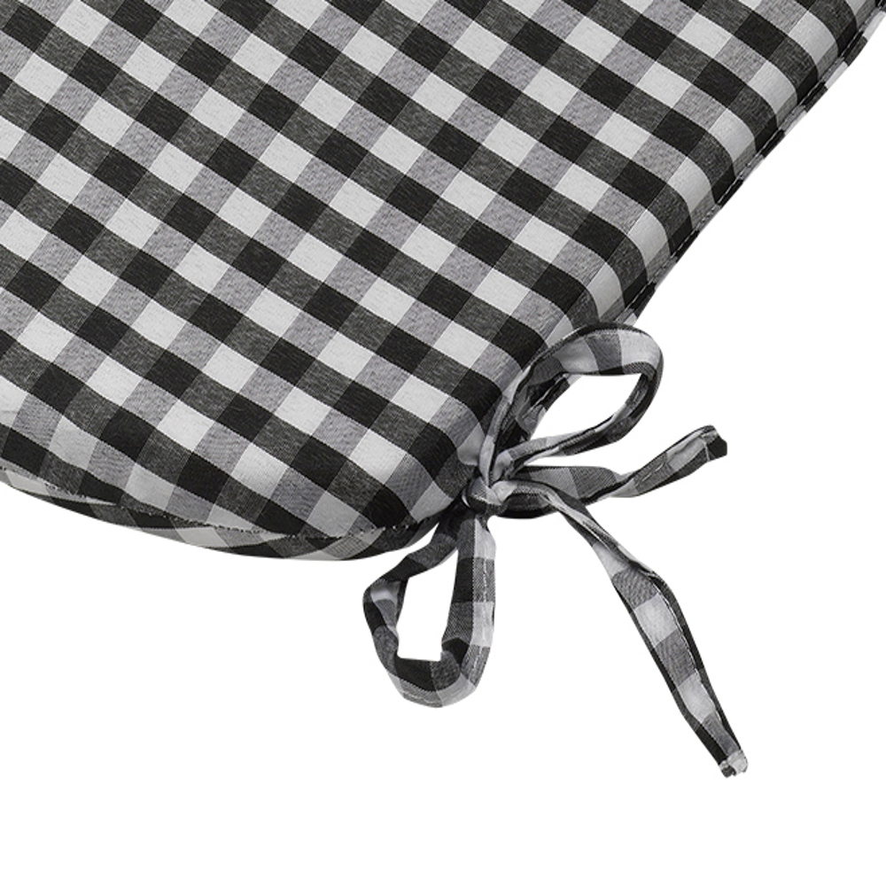 Tie On Rounded Gingham Chair Seat Pad Cushion Outdoor ...