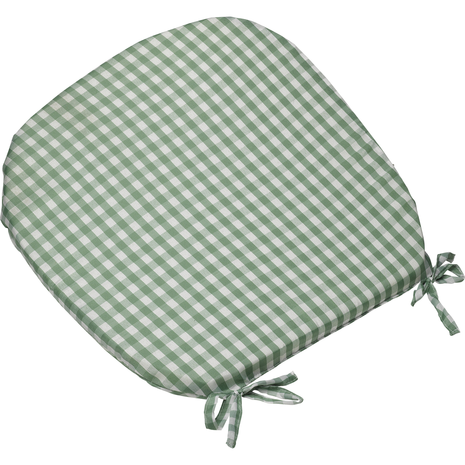 "gingham check tie on seat pad 16"" x 16"" kitchen outdoor dining"