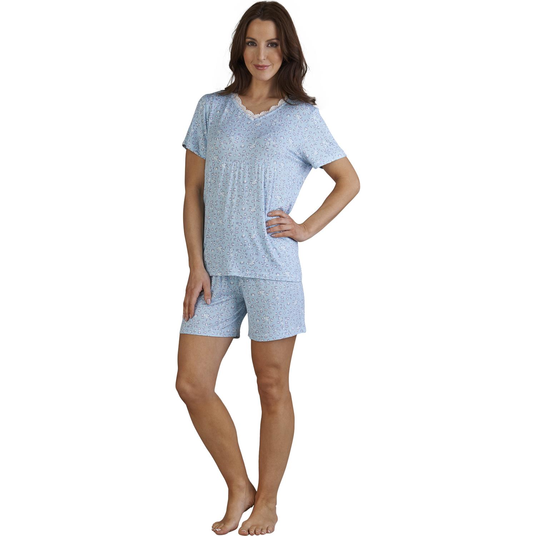 8658beb1713 Slenderella Leopard Print Pyjamas Ladies T Shirt Shorts PJs Set Womens  Nightwear