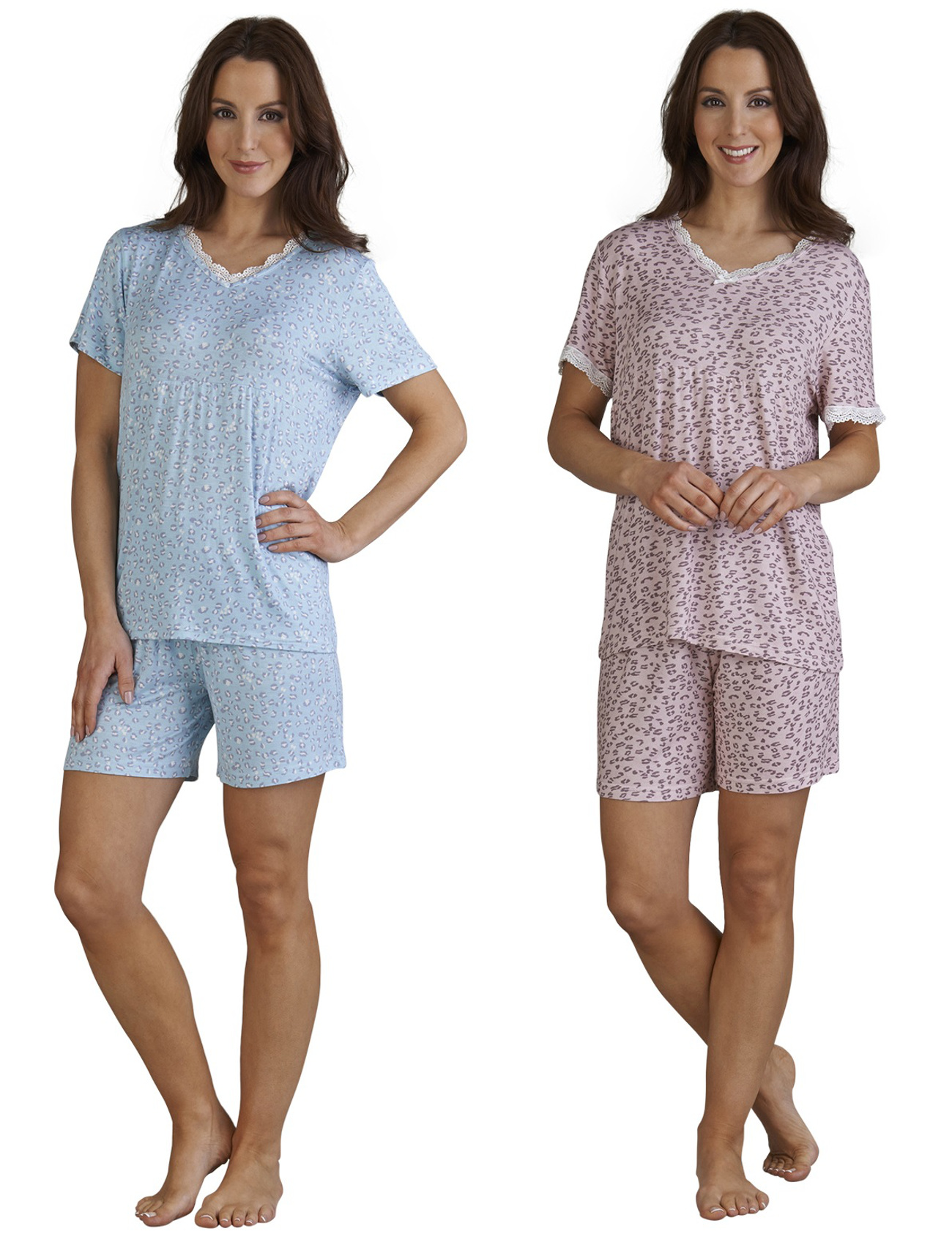 Slenderella Leopard Print Pyjamas Ladies T Shirt Shorts PJs Set Womens  Nightwear a2878c34a