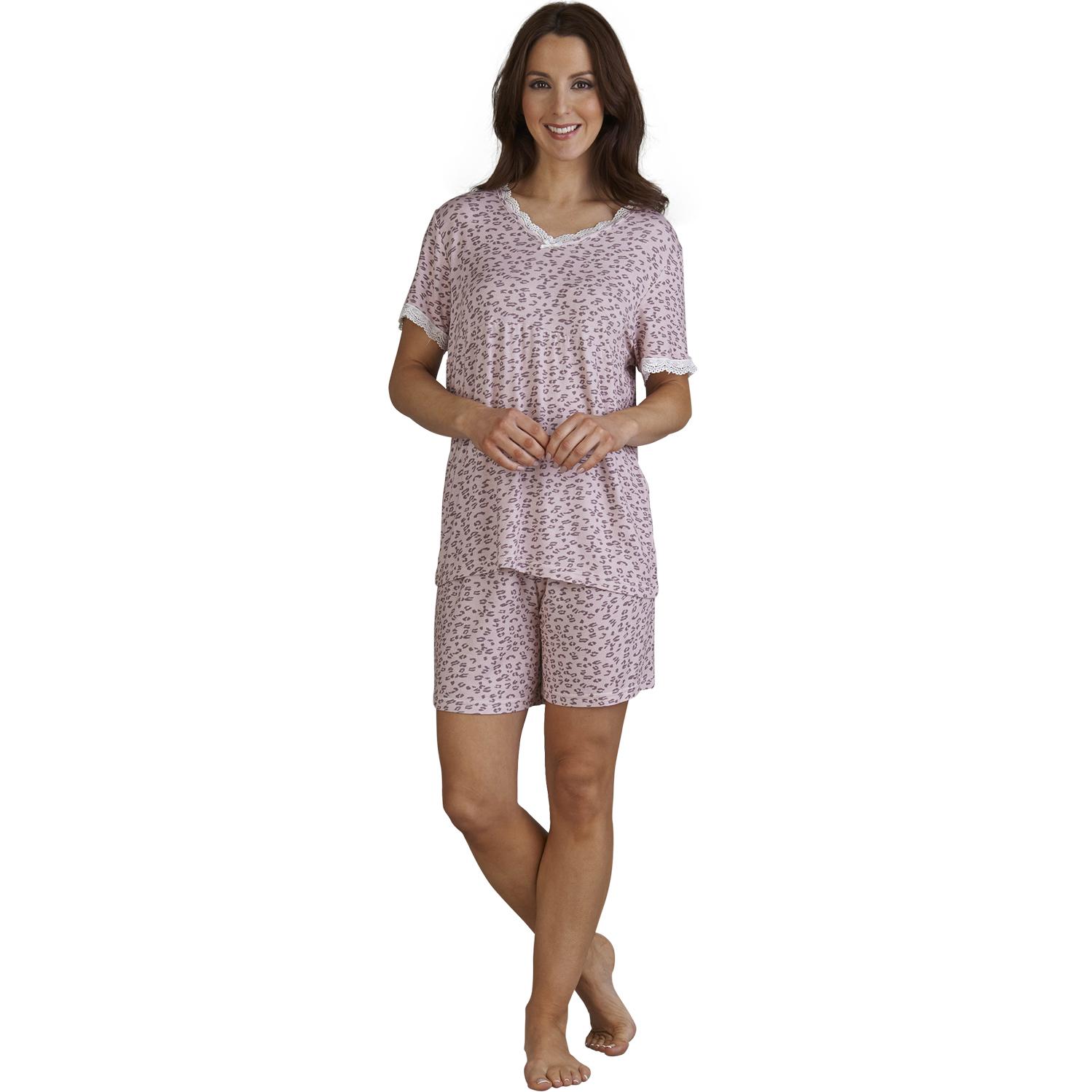 1a9cb69e6bc19 Slenderella Leopard Print Pyjamas Ladies T Shirt Shorts PJs Set Womens  Nightwear