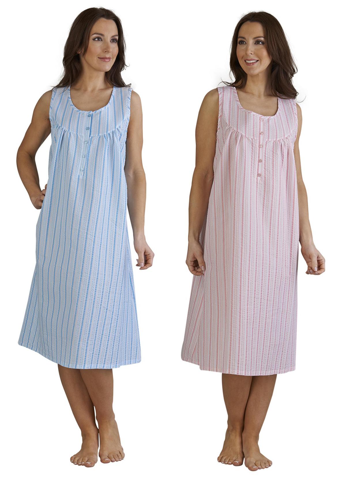 Womens Seersucker Stripe Sleeveless Night Dress Ladies