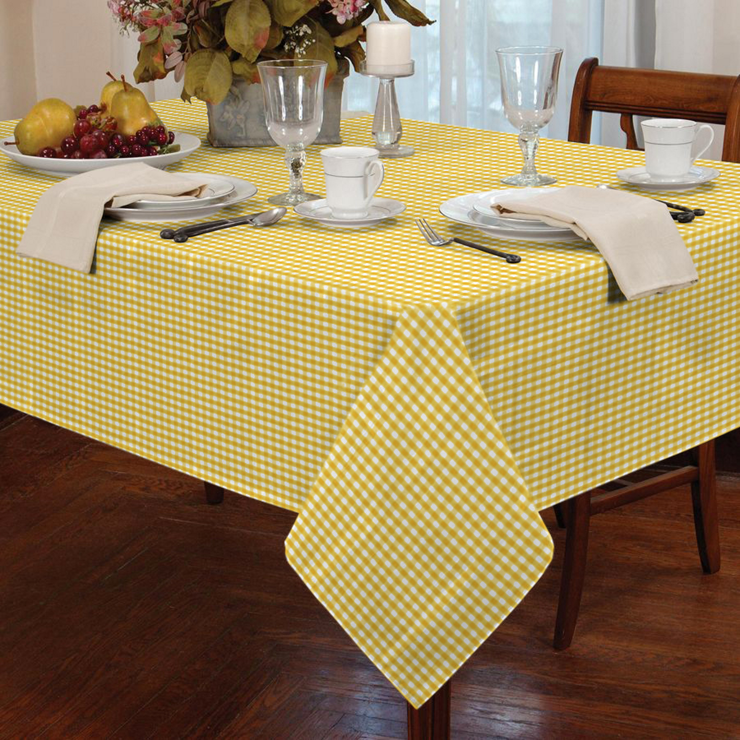Garden Picnic Gingham Check Tablecloth Dining Room Table