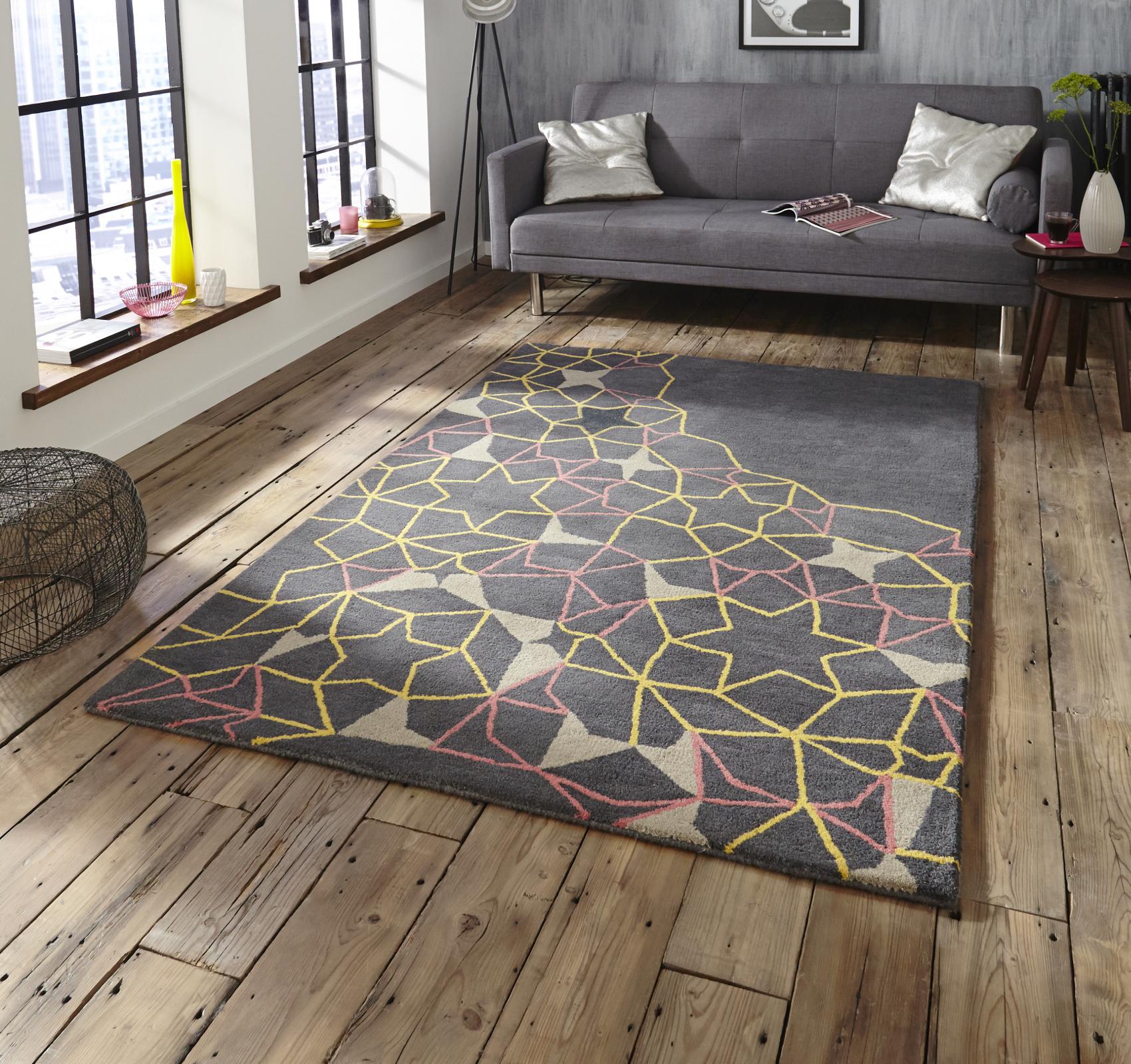 Geometric Arrows Stars 100 Wool Rug Modern Hand Tufted Mat Grey Pink Yellow