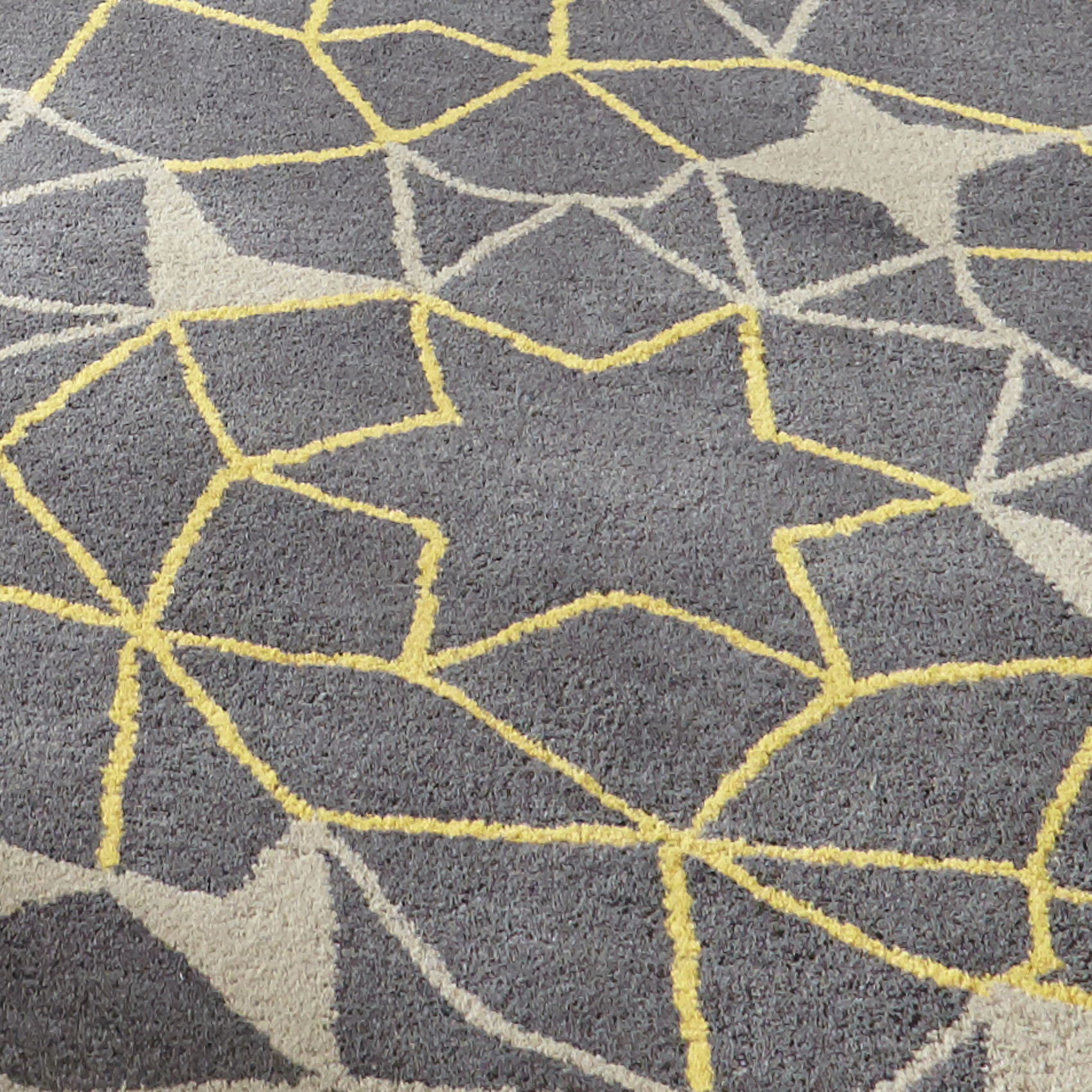 Grey & Yellow Geometric Rug Wool Arrows & Stars Hand Tufted