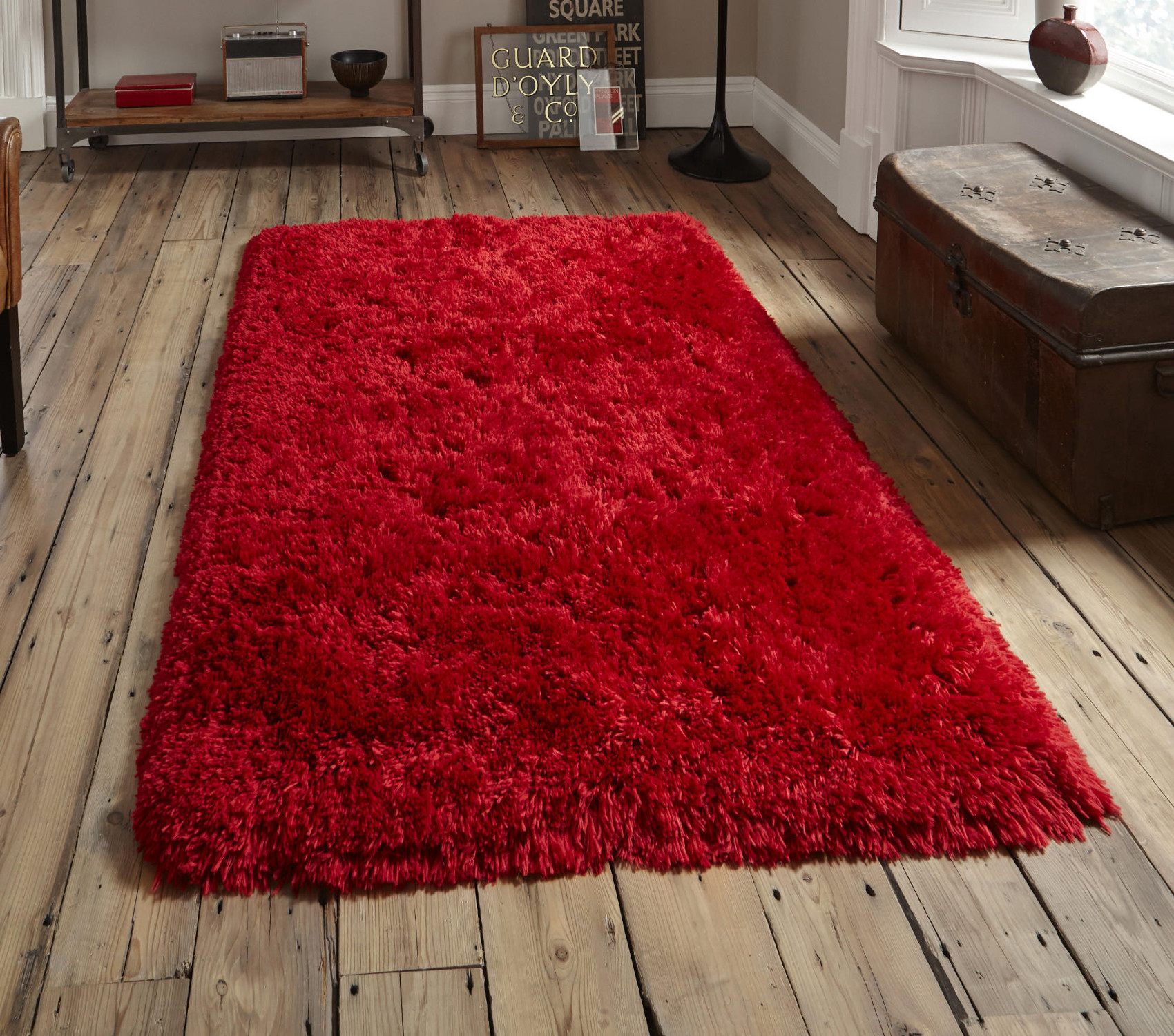 Red Thick Gy 8 5cm Pile Rug Luxurious Hand Tufted 100 Acrylic Polar Mat