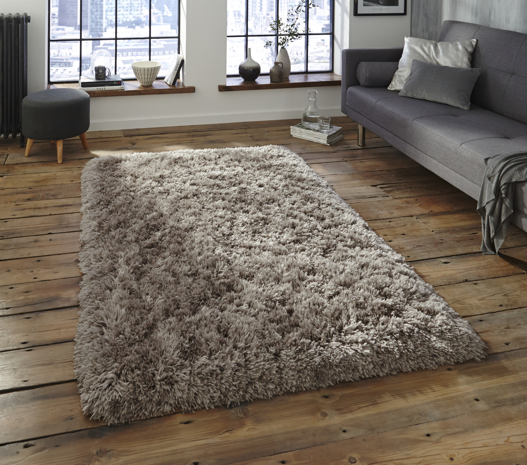 Grey Thick Shaggy 8 5cm Pile Rug Luxurious Hand Tufted 100