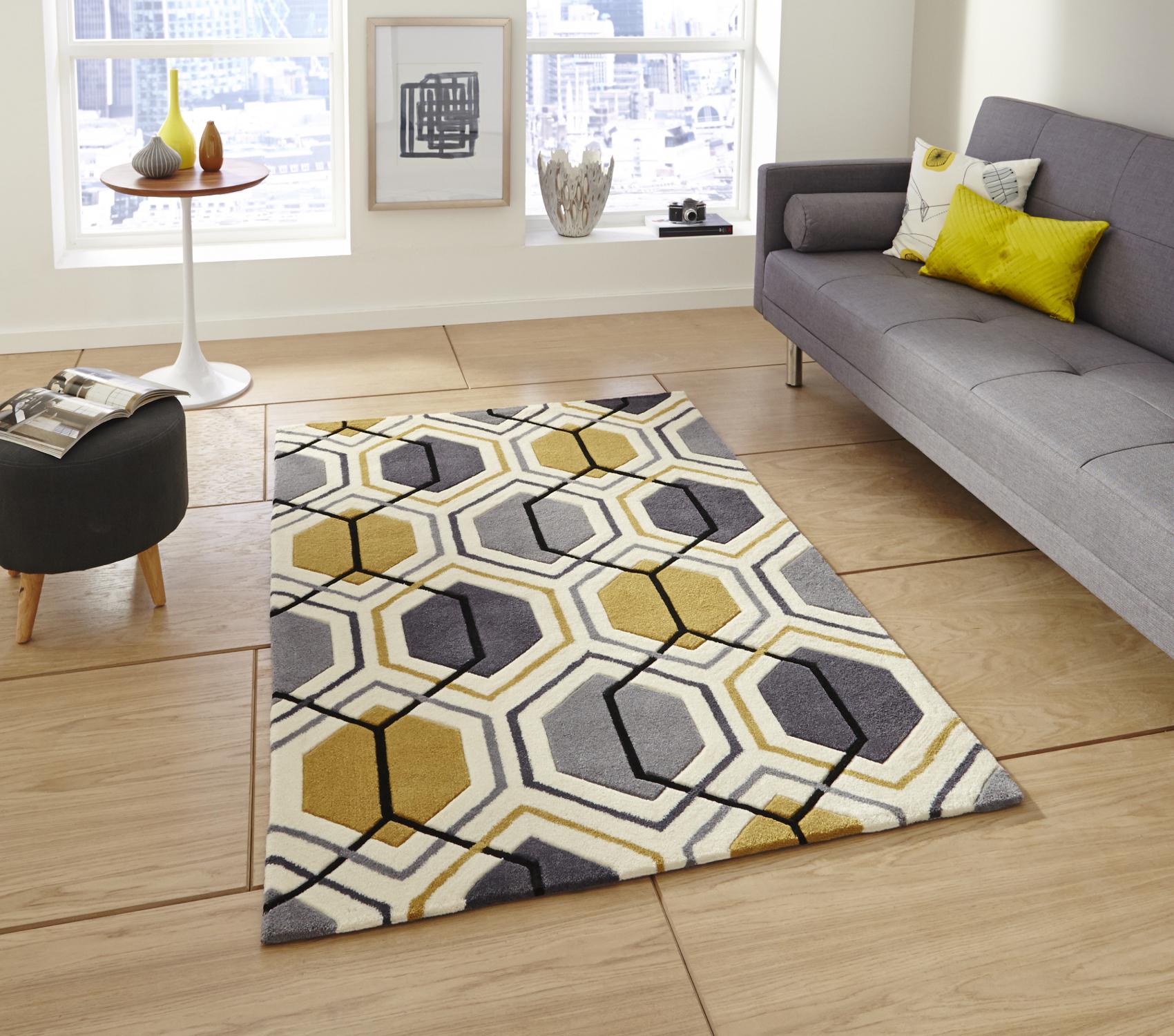 Geometric Hexagon Design Rug Hong Kong Hand Tufted 100% Acrylic Mat ...