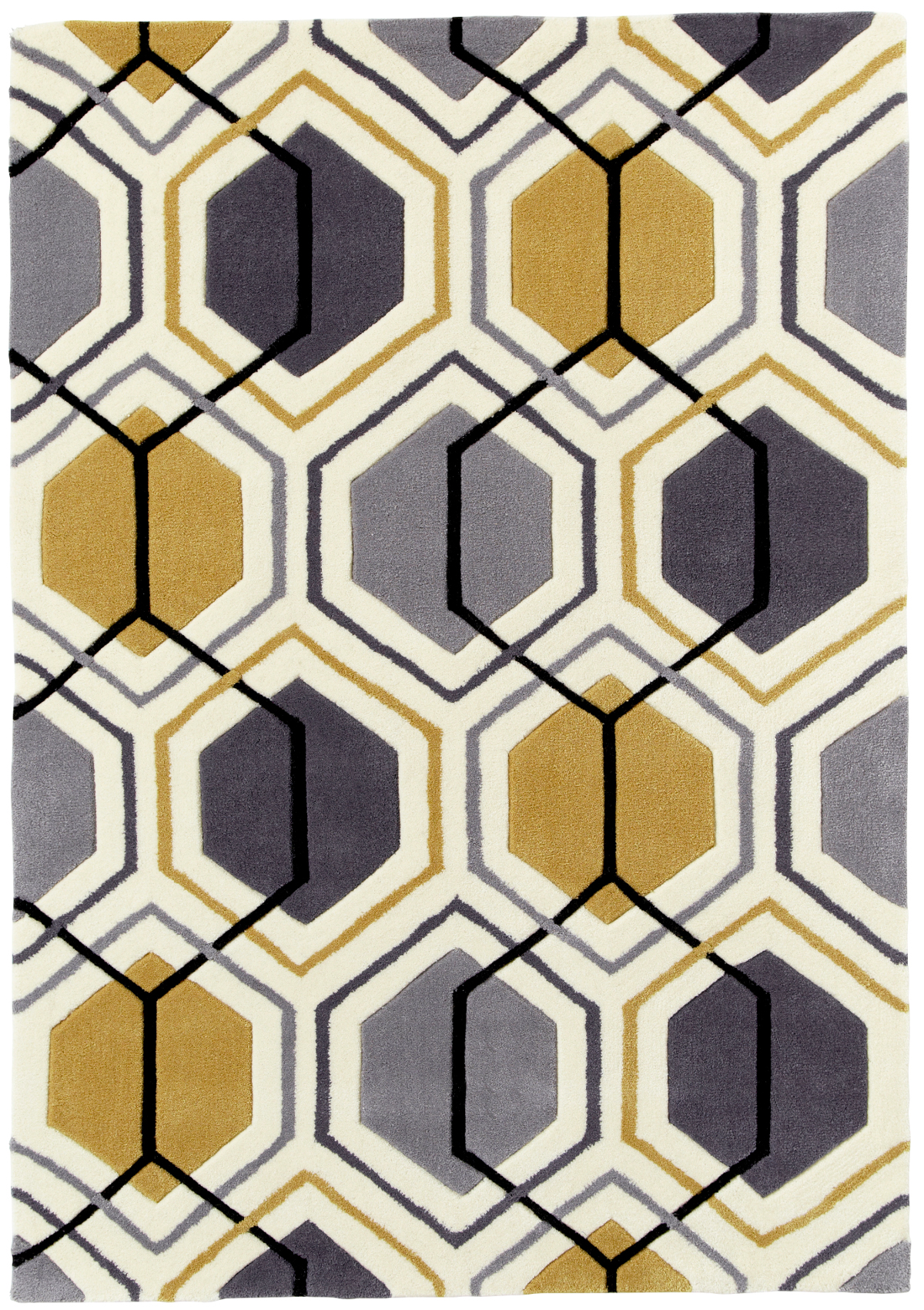 Modern Geometric Design Rug Hexagon 100 Acrylic Hand