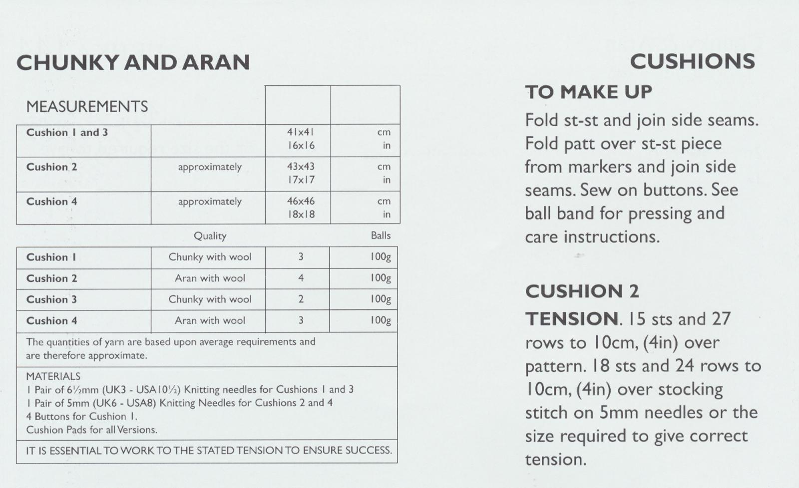 Chunky & Aran Yarn Knitting Pattern UKHKA 144 Easy Knit Design ...