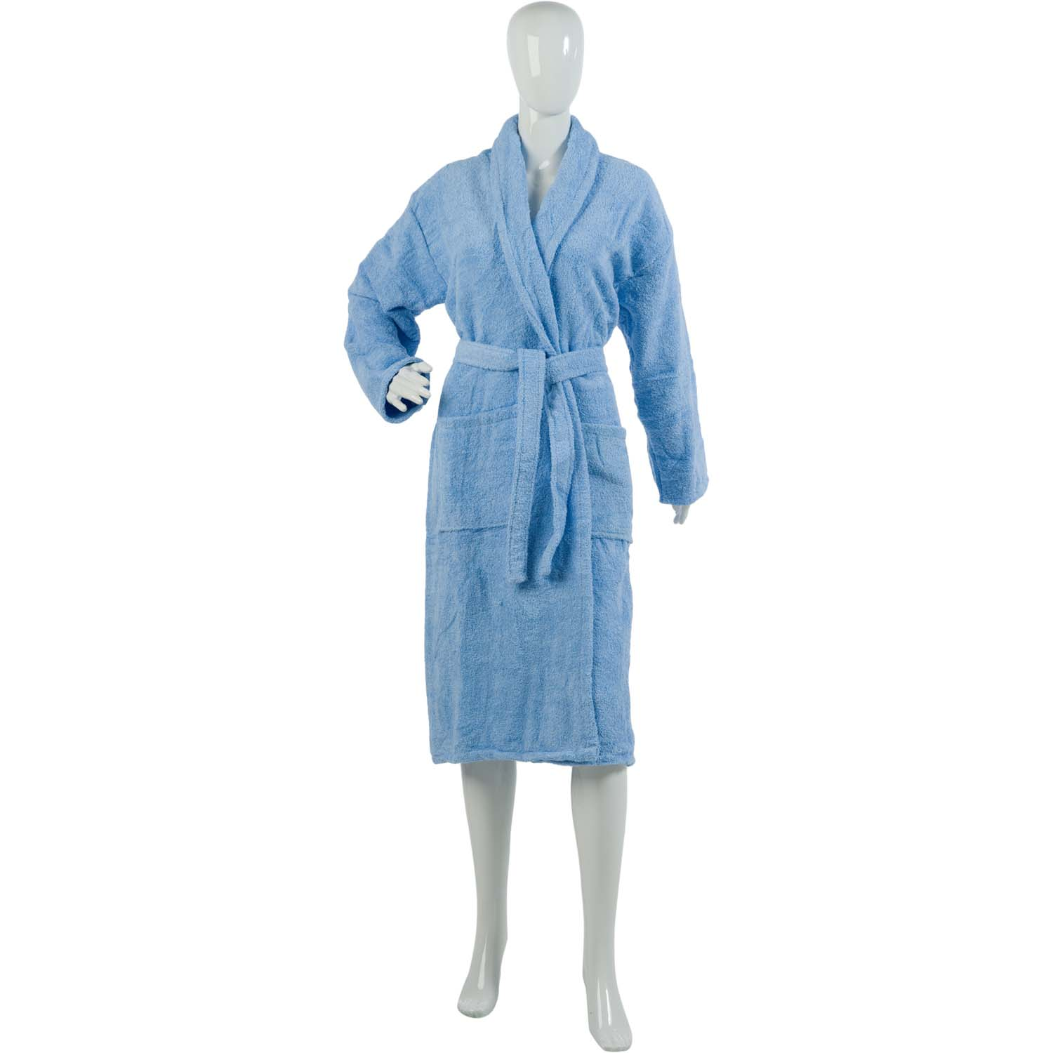 Ladies Plain Towelling Dressing Gown Womens 100% Cotton Wrap Around ...