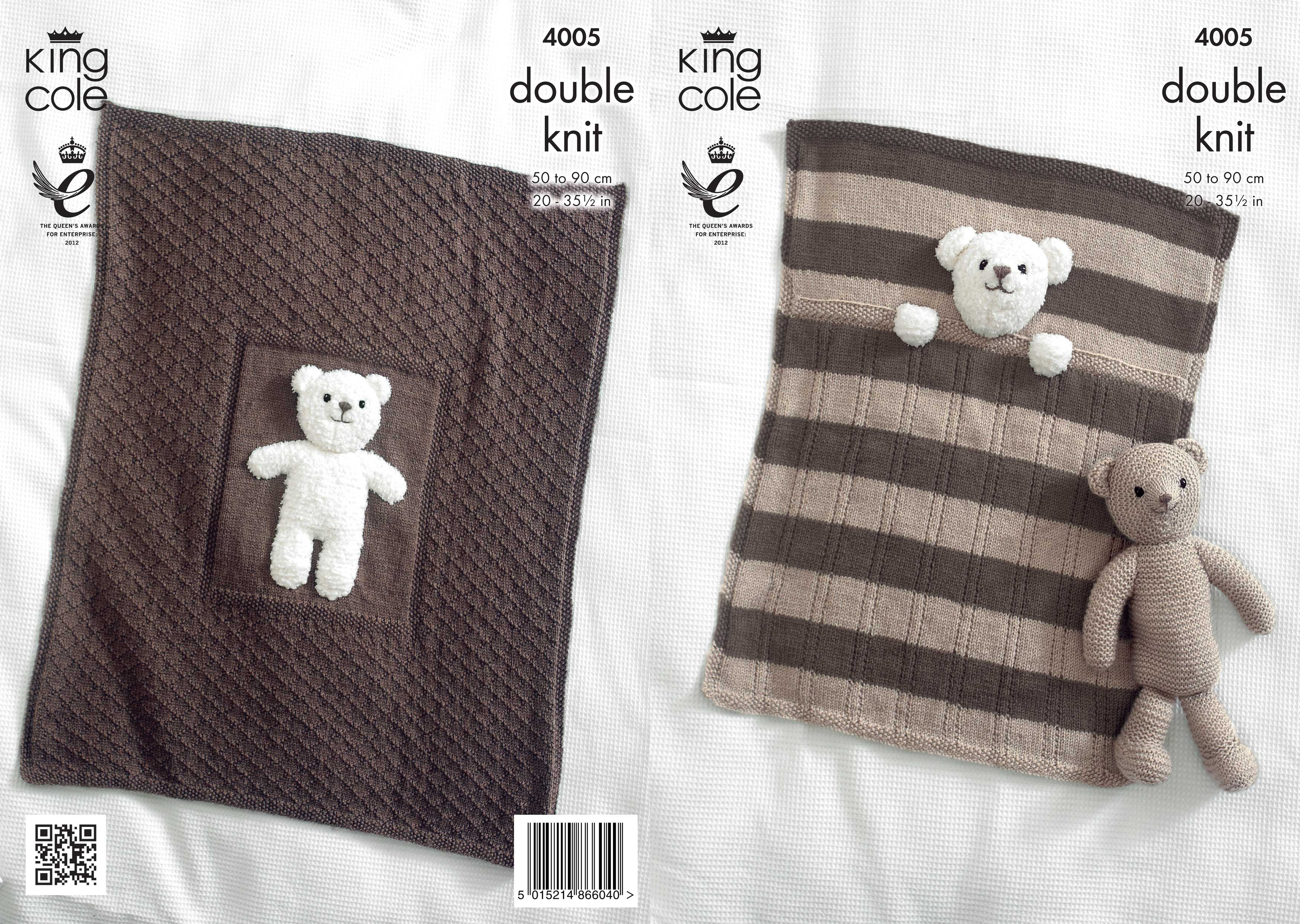 King cole double knitting pattern blanket teddy bear toy cuddles item description this king cole 4005 double knitting pattern bankloansurffo Choice Image