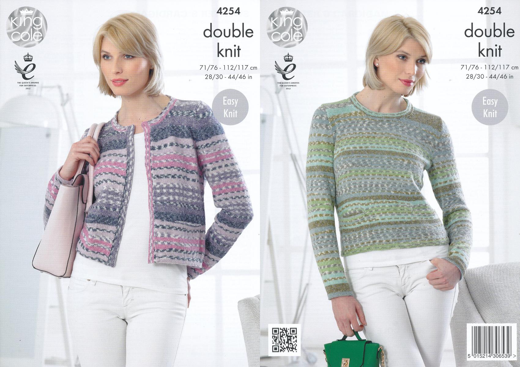 Ladies Double Knitting Pattern King Cole Womens DK Sweater Jumper ...