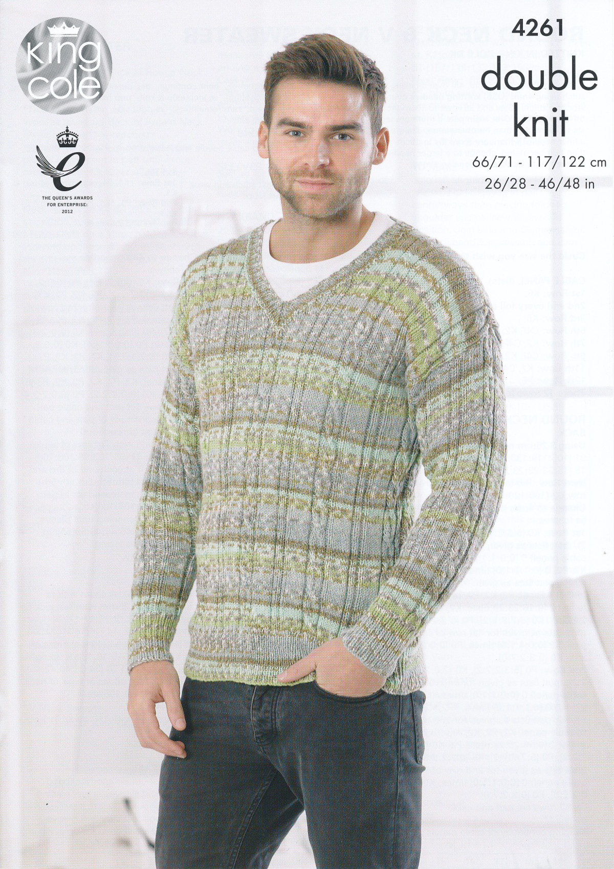 King Cole Mens Double Knitting Pattern Cable Knit Round or V Neck ...