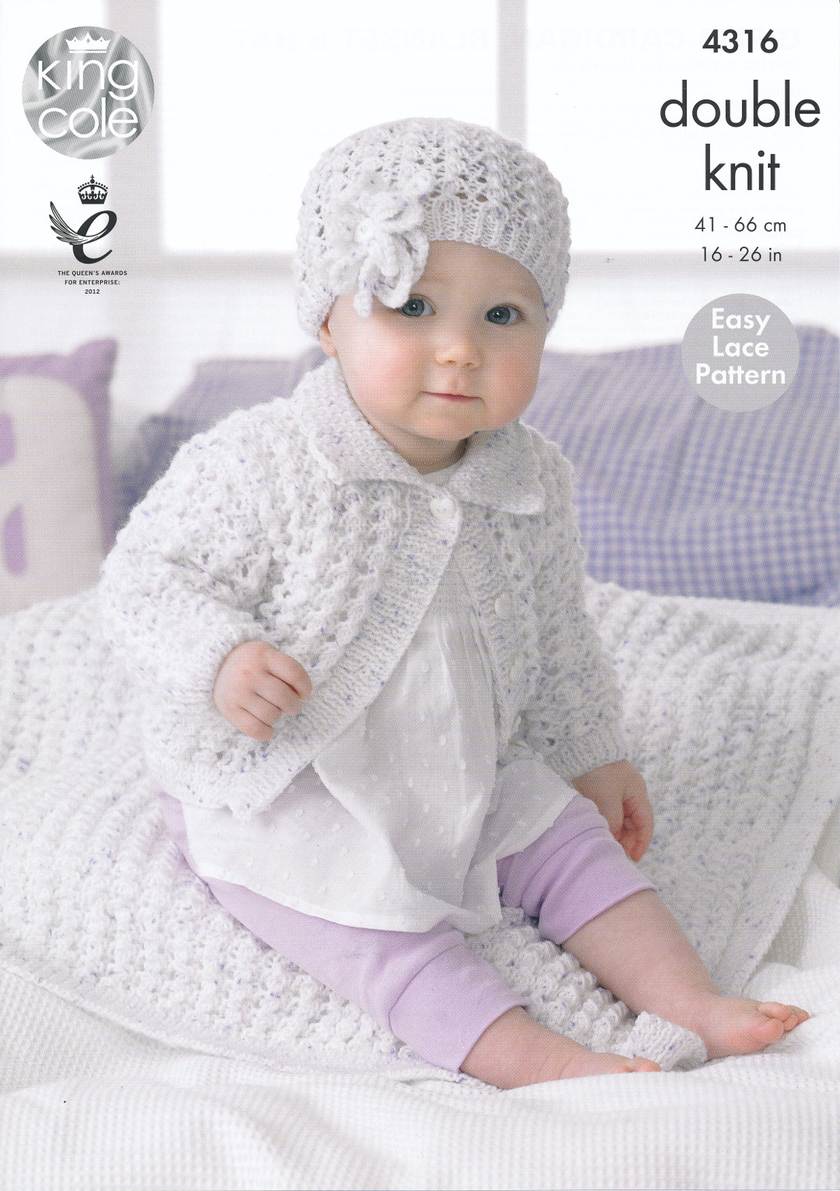 King Cole Double Knitting Pattern Baby Lace Cardigan Blanket Flower ...